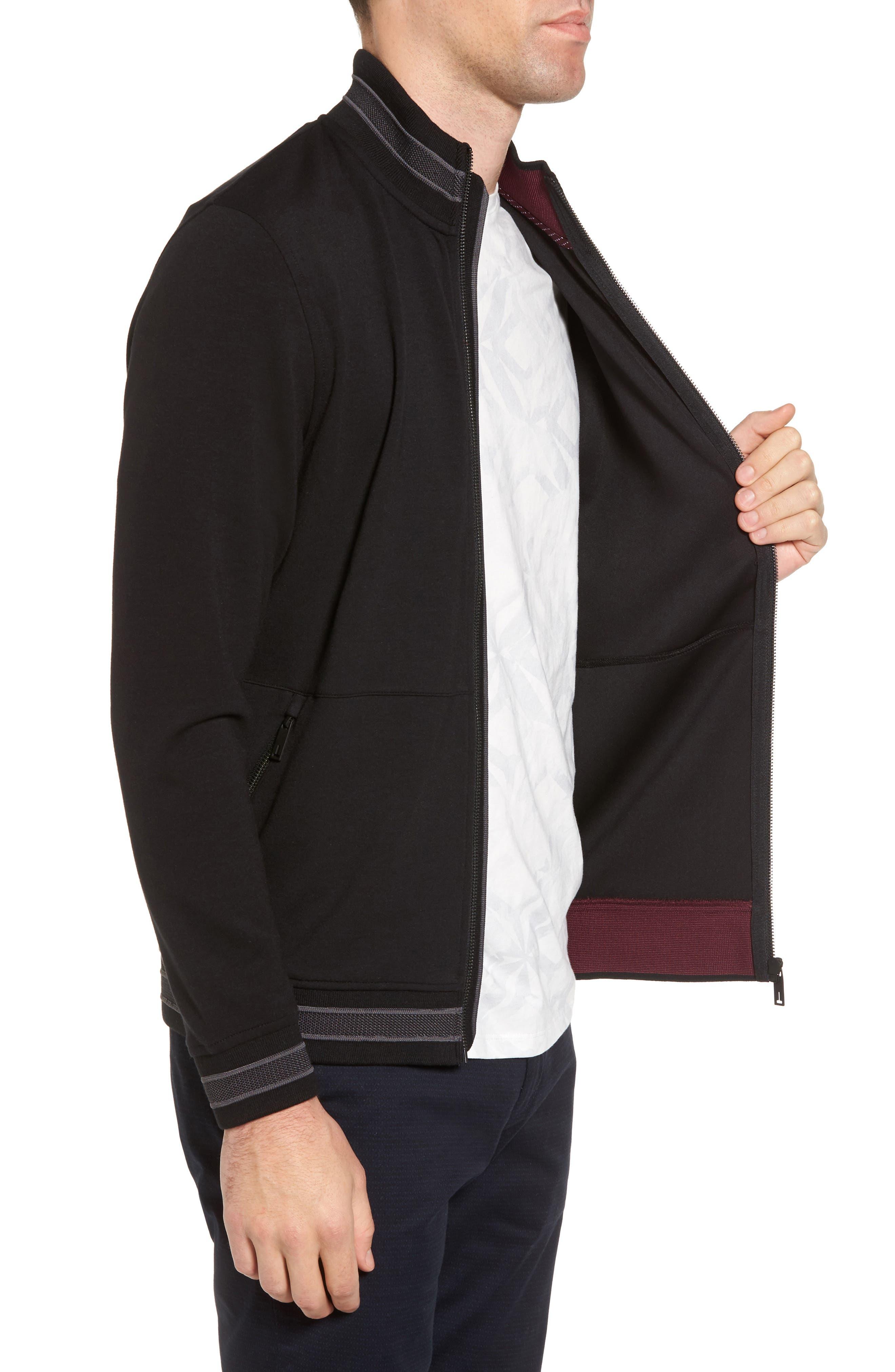 Collie Jersey Zip Jacket,                             Alternate thumbnail 3, color,                             001