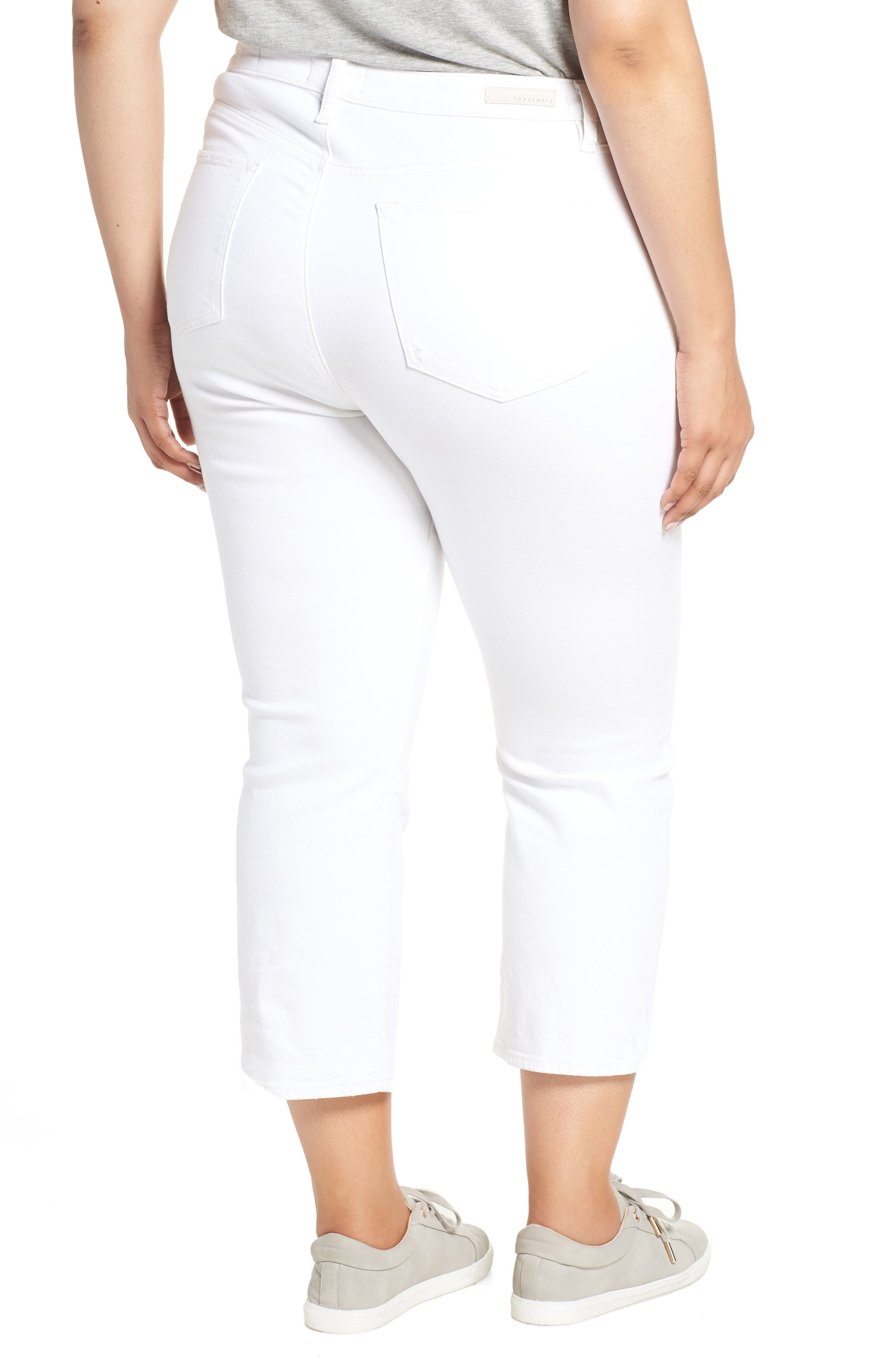 Modern High Rise Straight Leg Crop Jeans,                             Alternate thumbnail 2, color,                             ANGLNO WHT