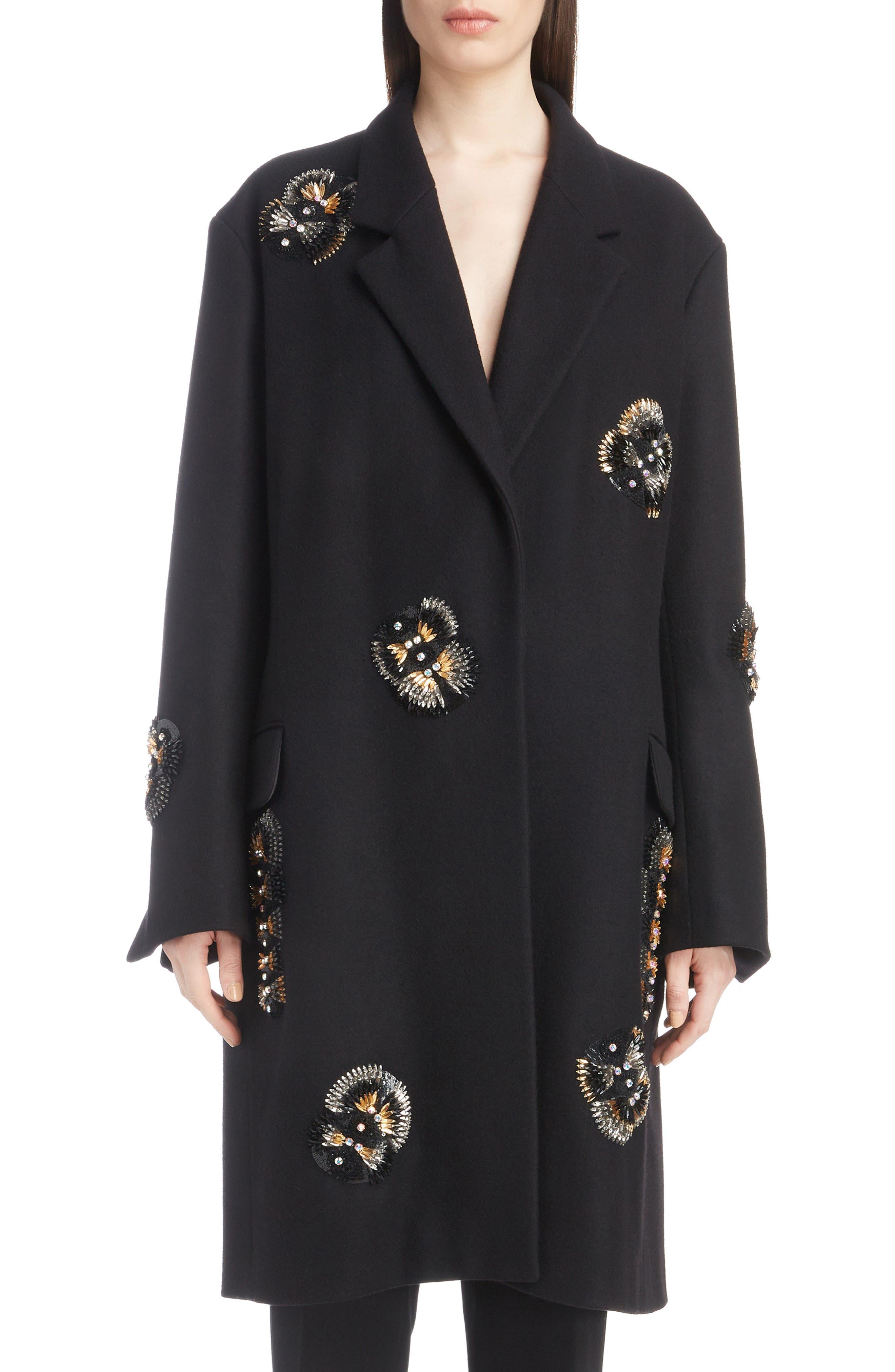 Embellished Wool Blend Coat,                         Main,                         color, BLACK