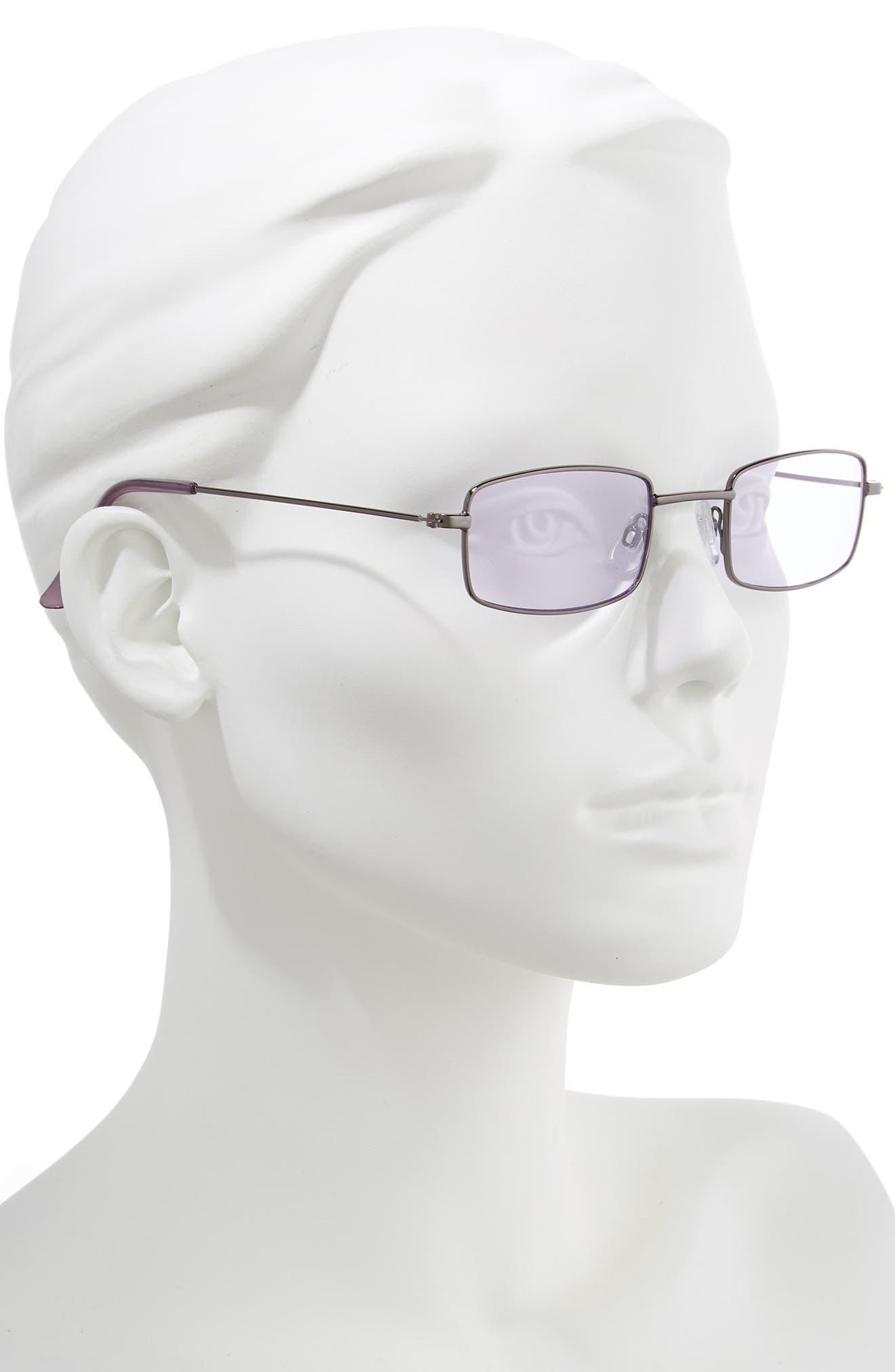 45mm Square Sunglasses,                             Alternate thumbnail 2, color,                             GUNMETAL/ PURPLE
