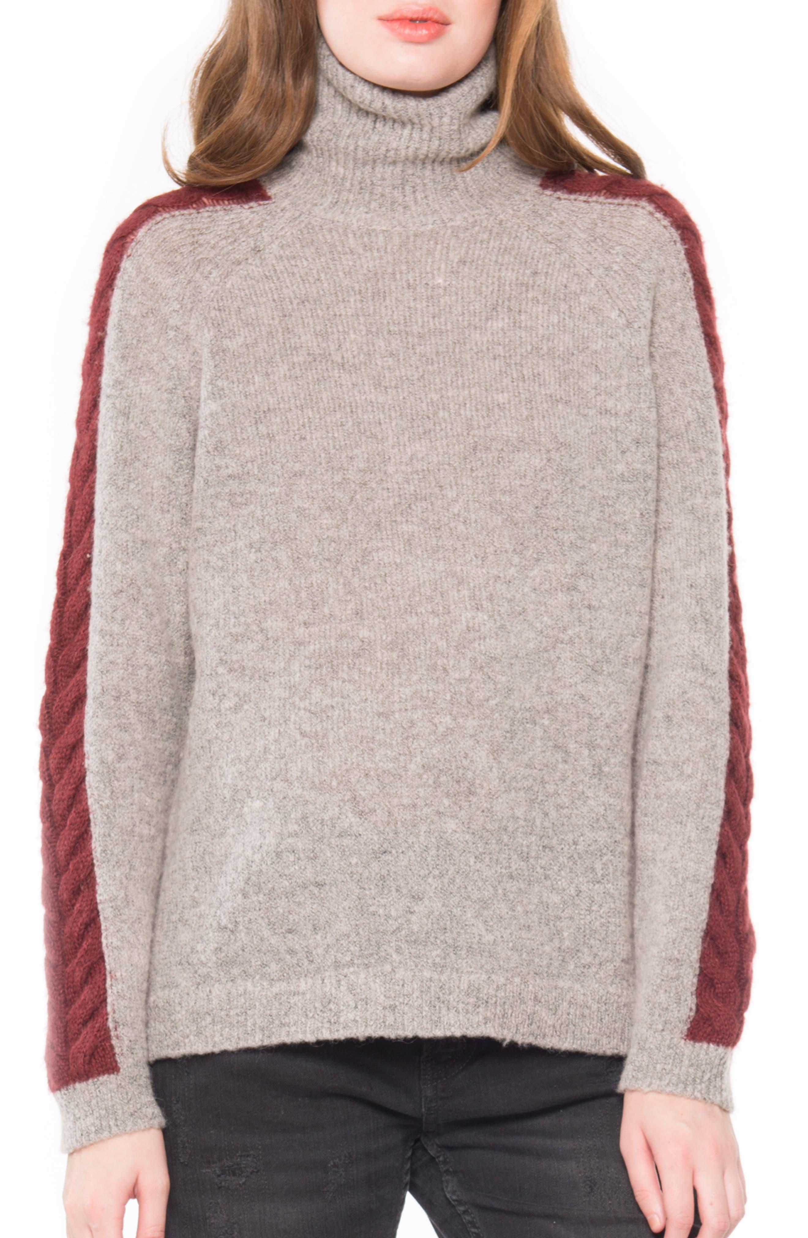 Cable Detail Turtleneck Sweater,                             Main thumbnail 1, color,                             213