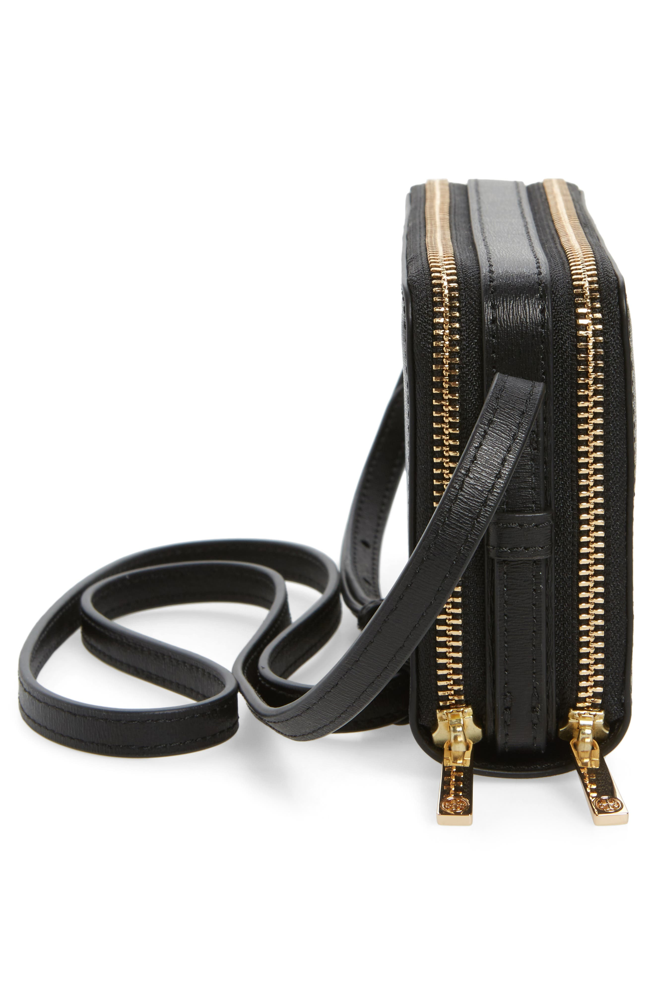 Mini Parker Leather Crossbody Bag,                             Alternate thumbnail 5, color,                             001