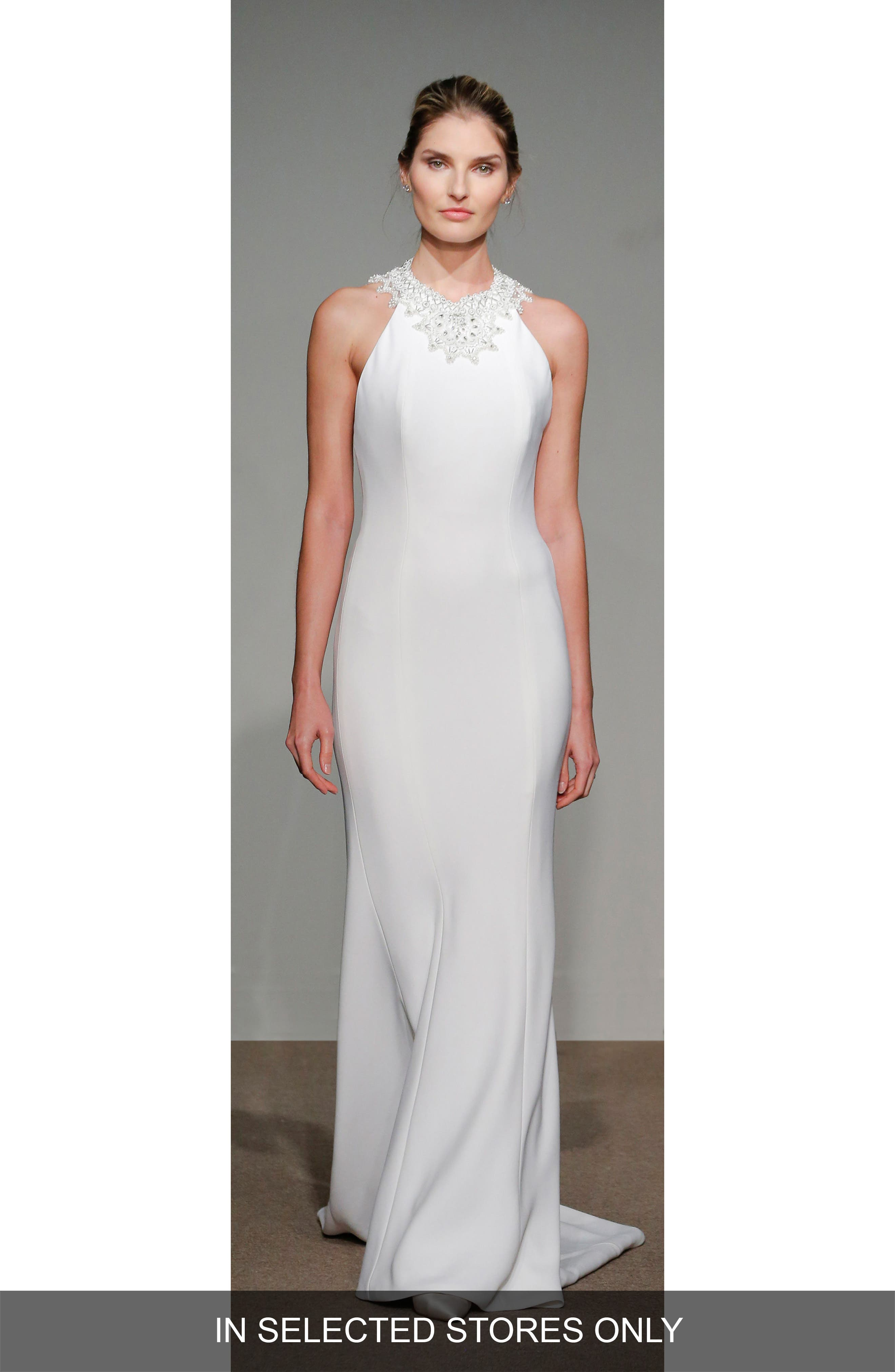 Senet Embellished Open Back Cady Gown,                         Main,                         color, WHITE