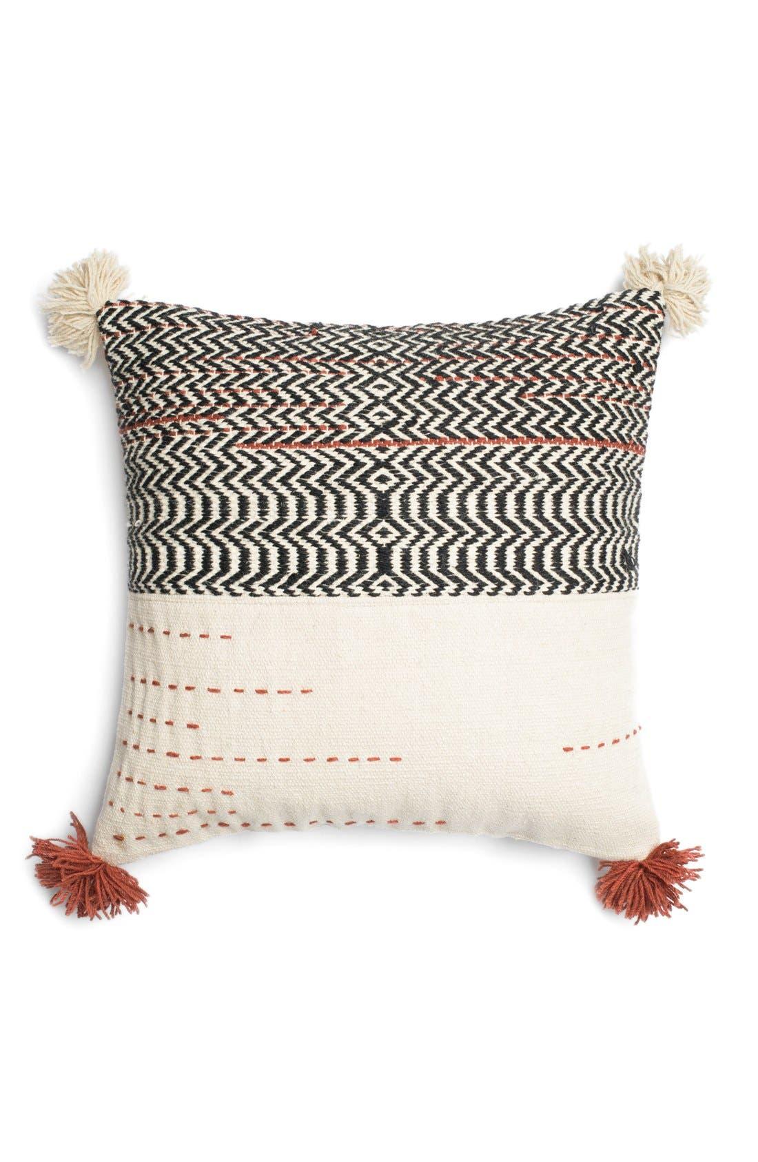 Woven Wool & Cotton Accent Pillow,                             Main thumbnail 1, color,                             001