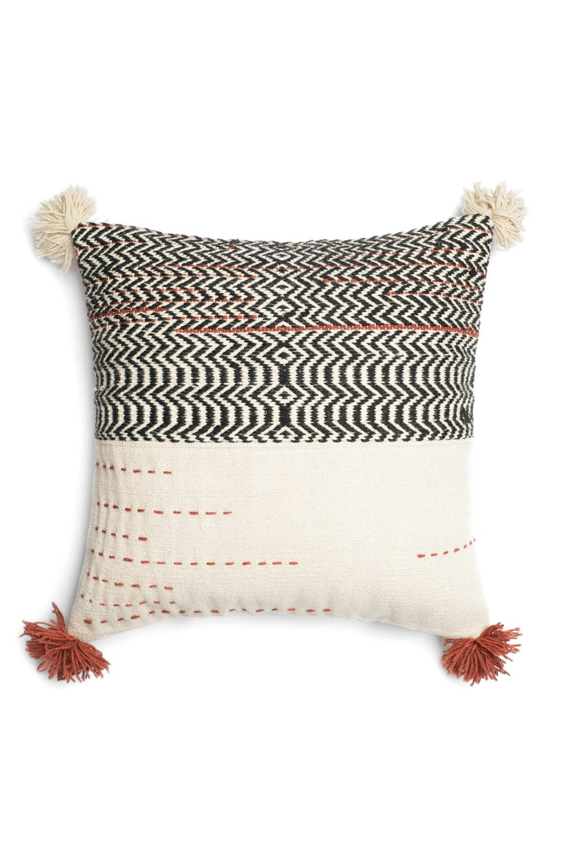 Woven Wool & Cotton Accent Pillow,                         Main,                         color, 001