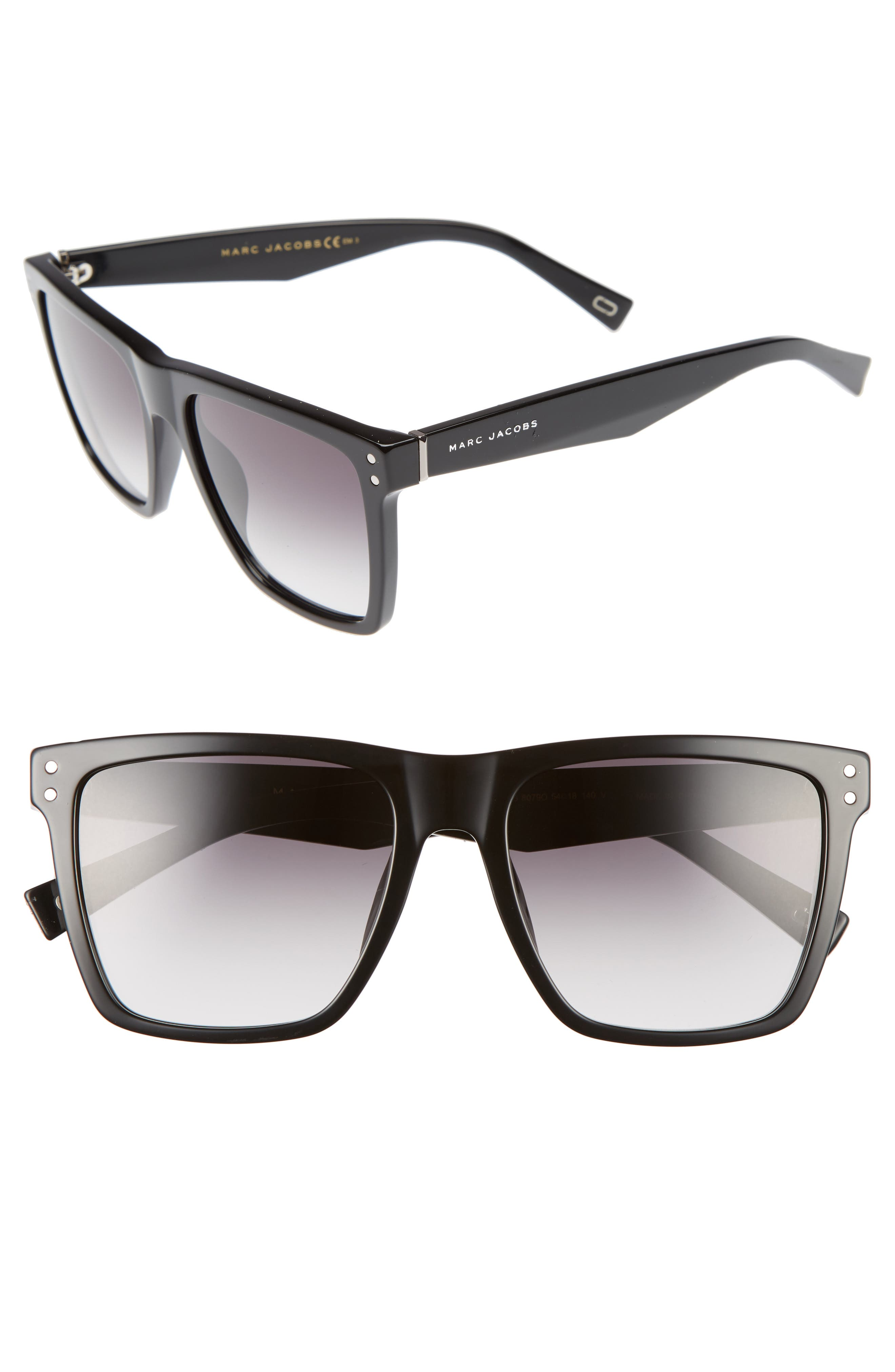 54mm Flat Top Gradient Square Frame Sunglasses,                         Main,                         color, BLACK