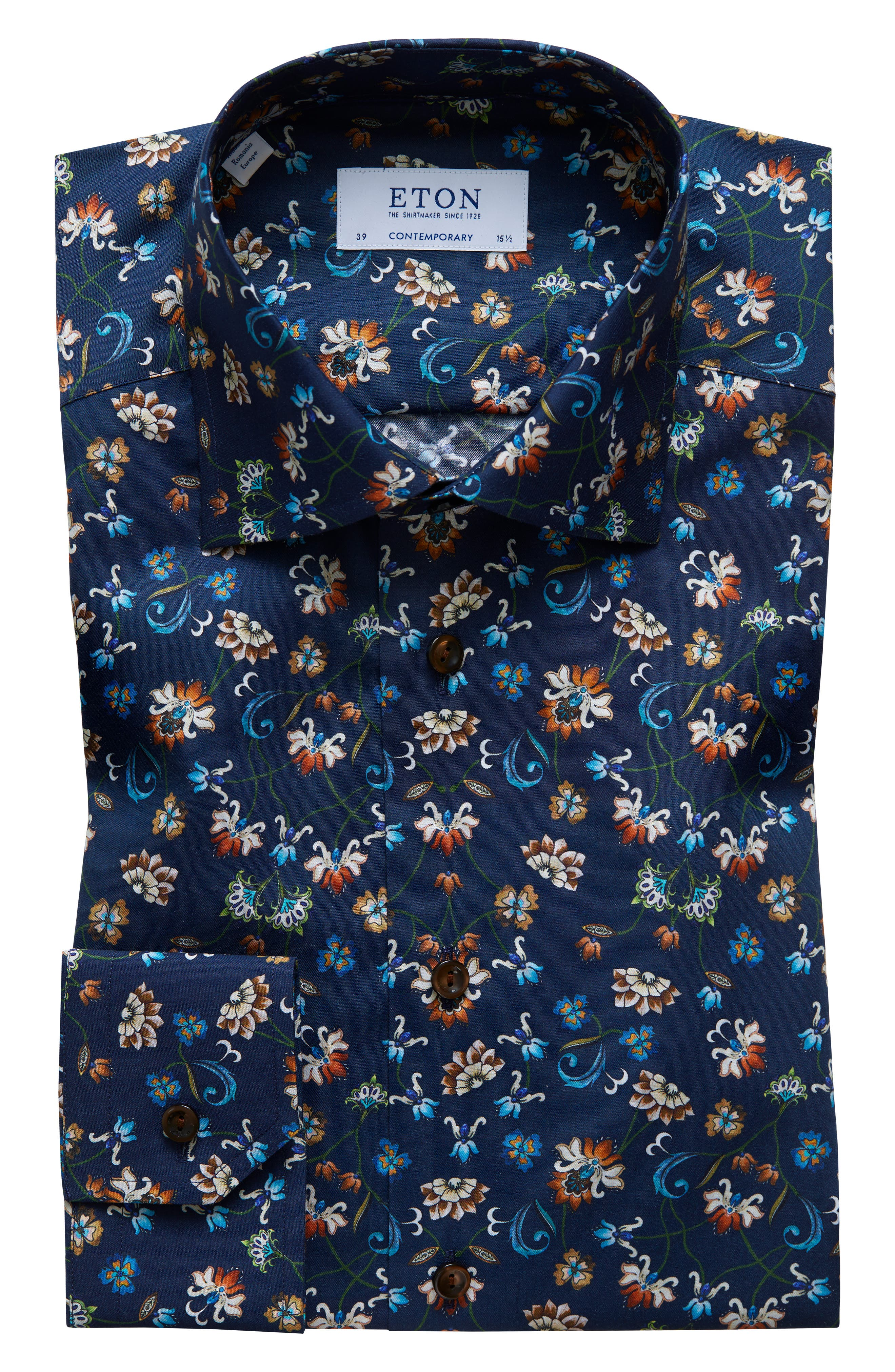 Contemporary Fit Floral Dress Shirt,                         Main,                         color, NAVY BLUE