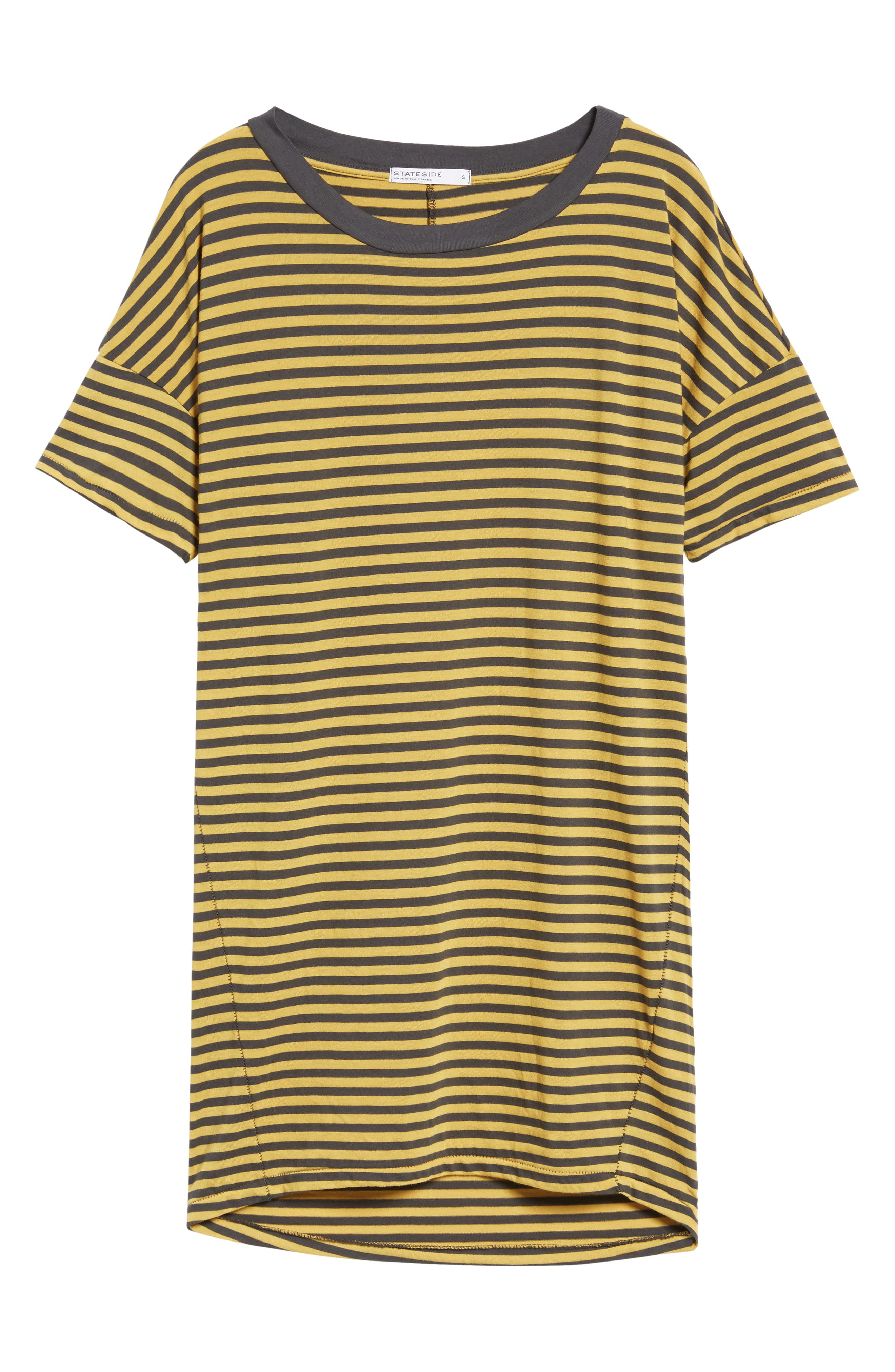 Mustard Stripe T-Shirt Dress,                             Alternate thumbnail 6, color,                             020