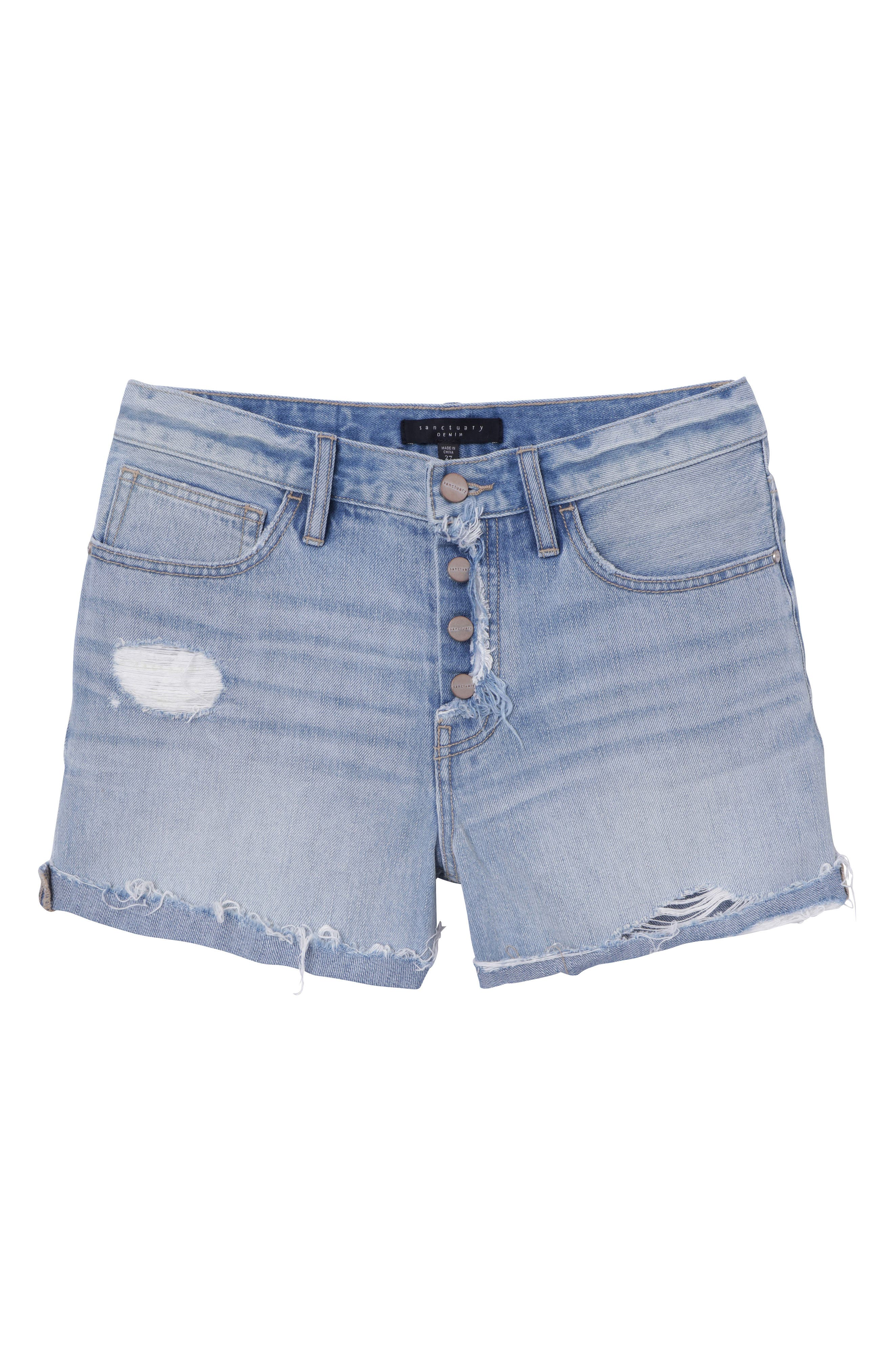 Distressed Fray Hem Rolled Shorts,                             Alternate thumbnail 6, color,                             451