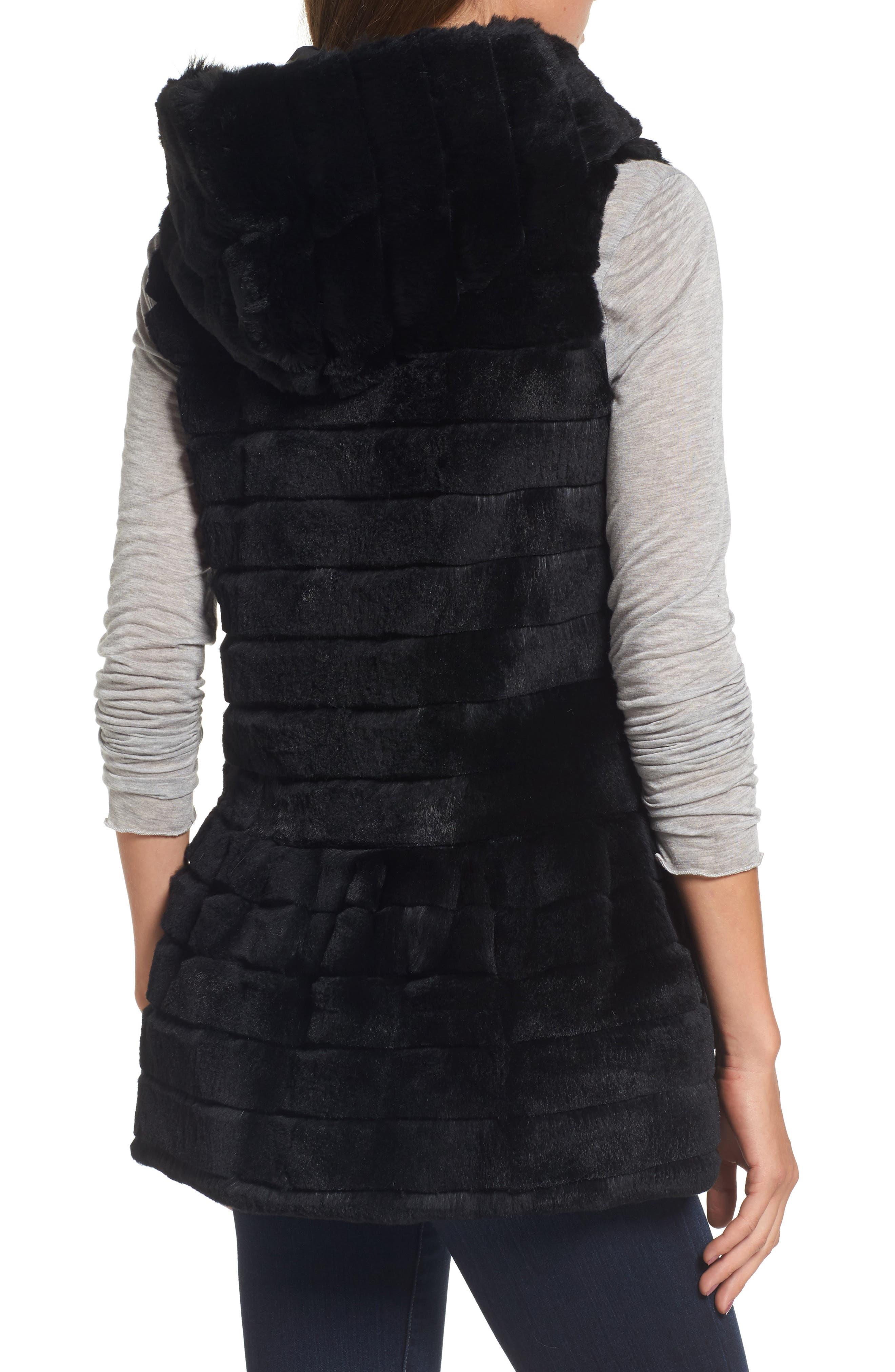 Genuine Rabbit Fur Hooded Vest,                             Alternate thumbnail 2, color,                             001
