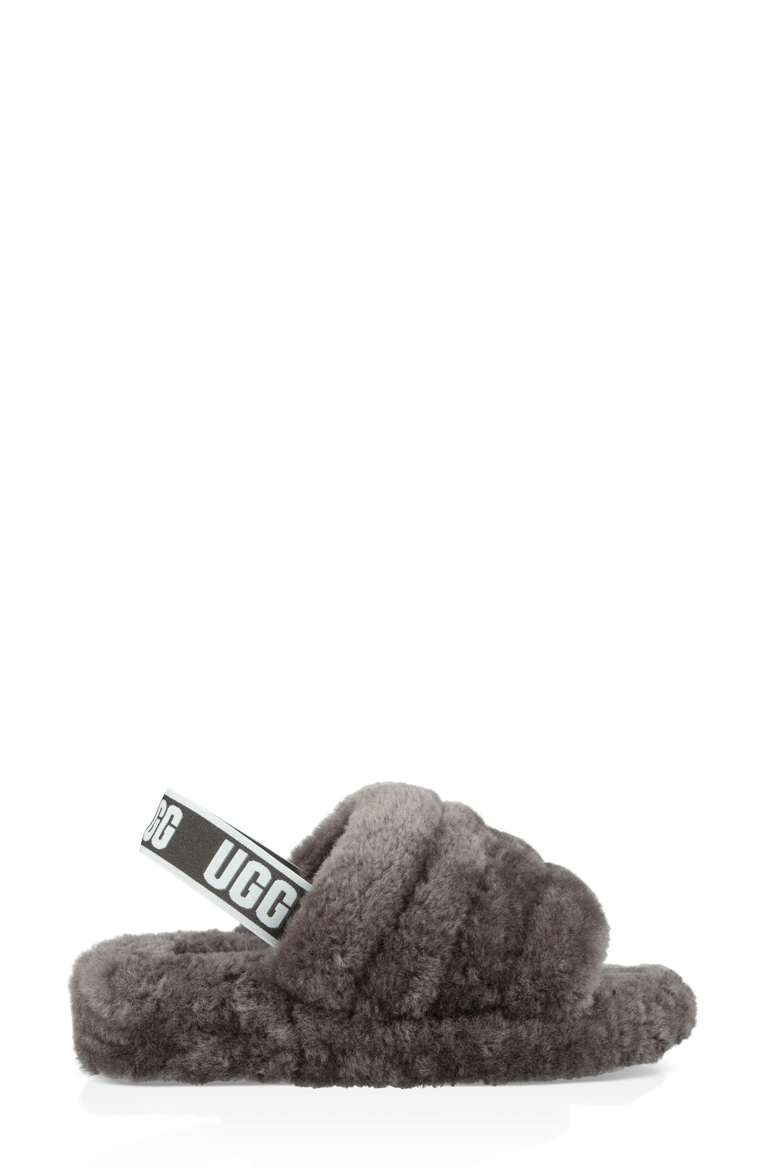 Fluff Yeah Genuine Shearling Slipper,                             Alternate thumbnail 3, color,                             CHARCOAL