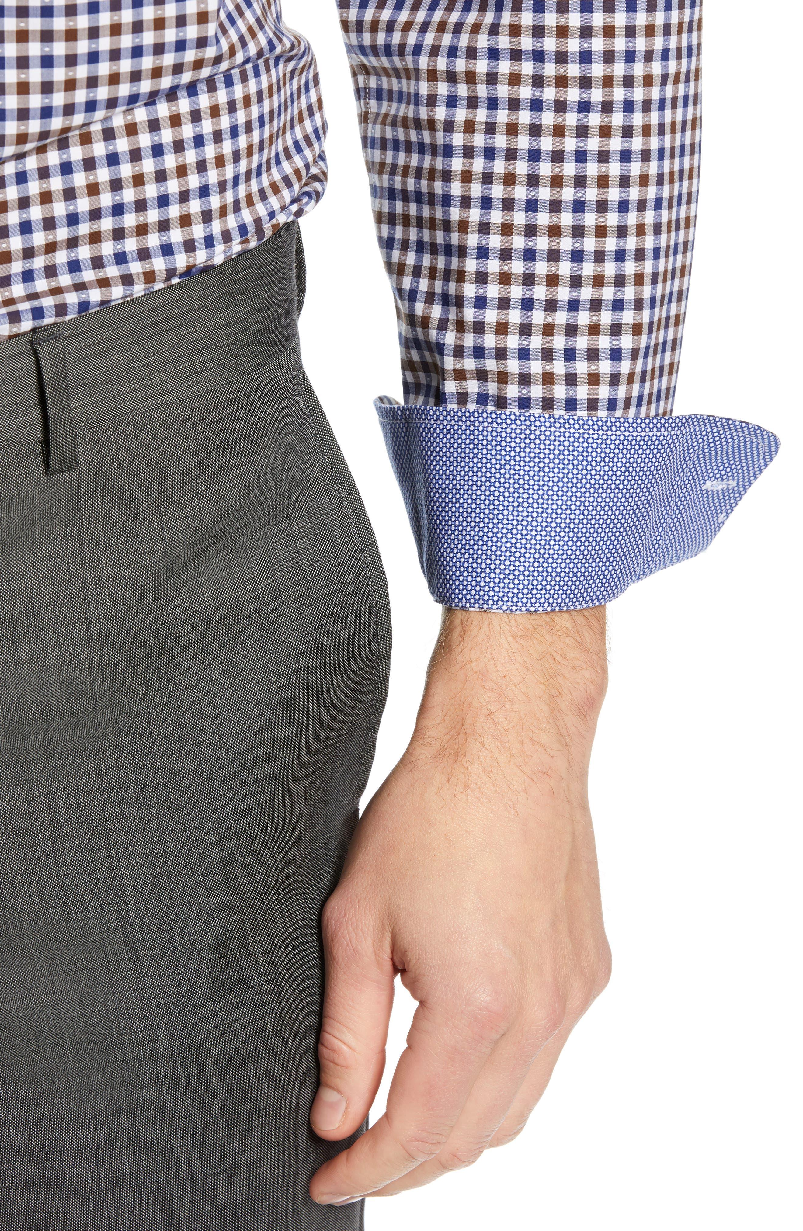 NORDSTROM MEN'S SHOP,                             Trim Fit Non-Iron Check Dress Shirt,                             Alternate thumbnail 2, color,                             BROWN FAWN