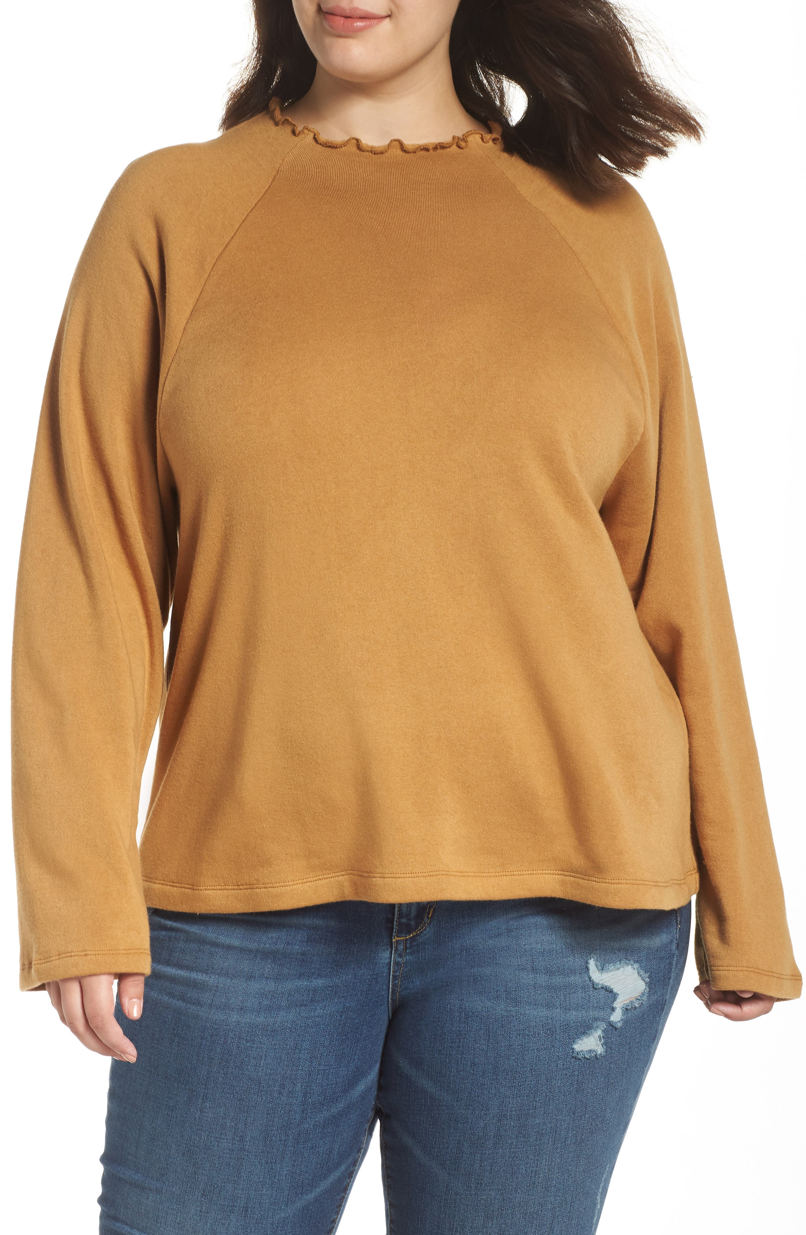 Plus Size Bp. Lettuce Edge Fleece Pullover, Brown