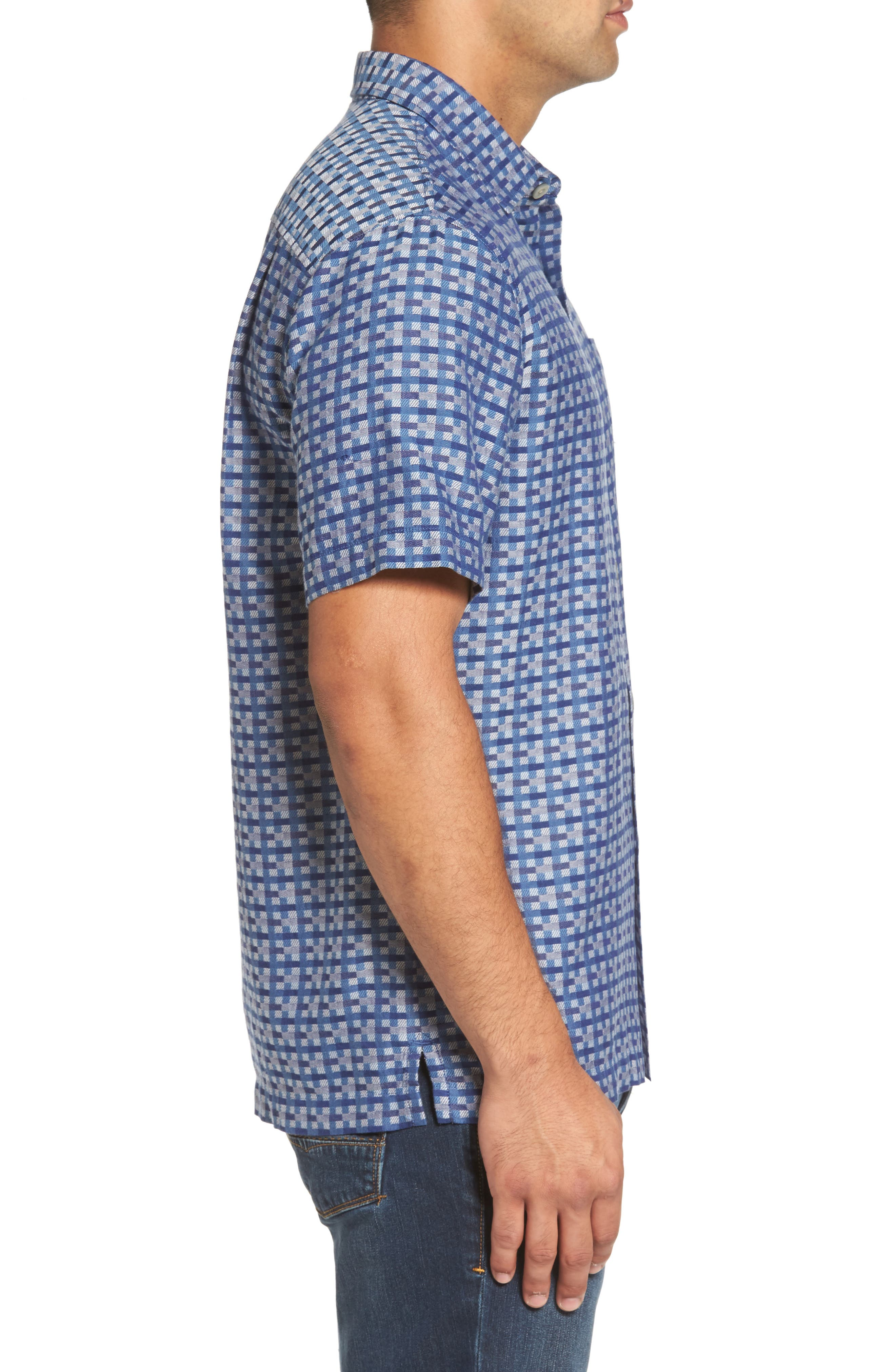 Moroccan Squares Standard Fit Silk Blend Camp Shirt,                             Alternate thumbnail 6, color,