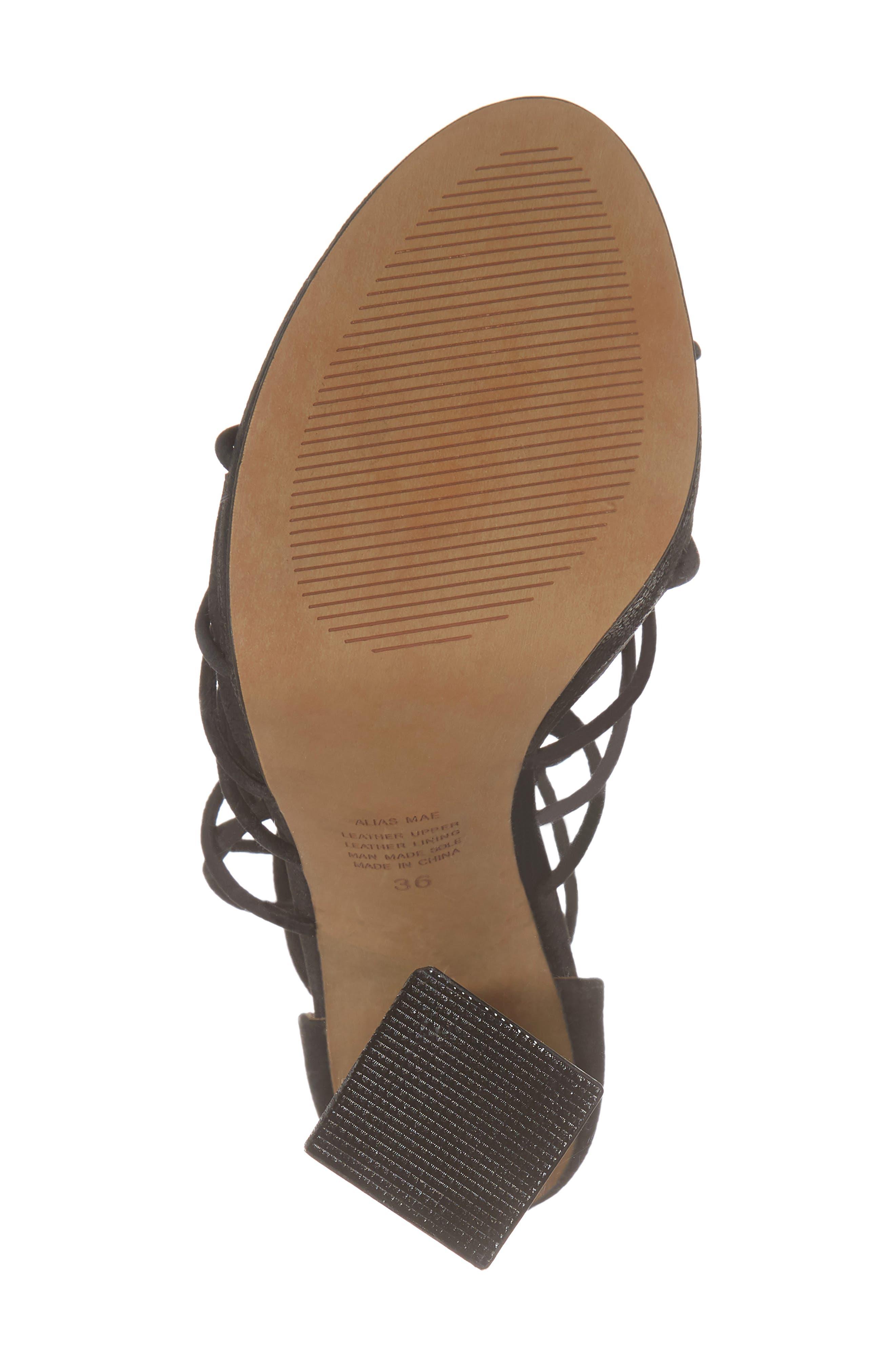 Bordega Ankle Wrap Sandal,                             Alternate thumbnail 6, color,                             BLACK LEATHER