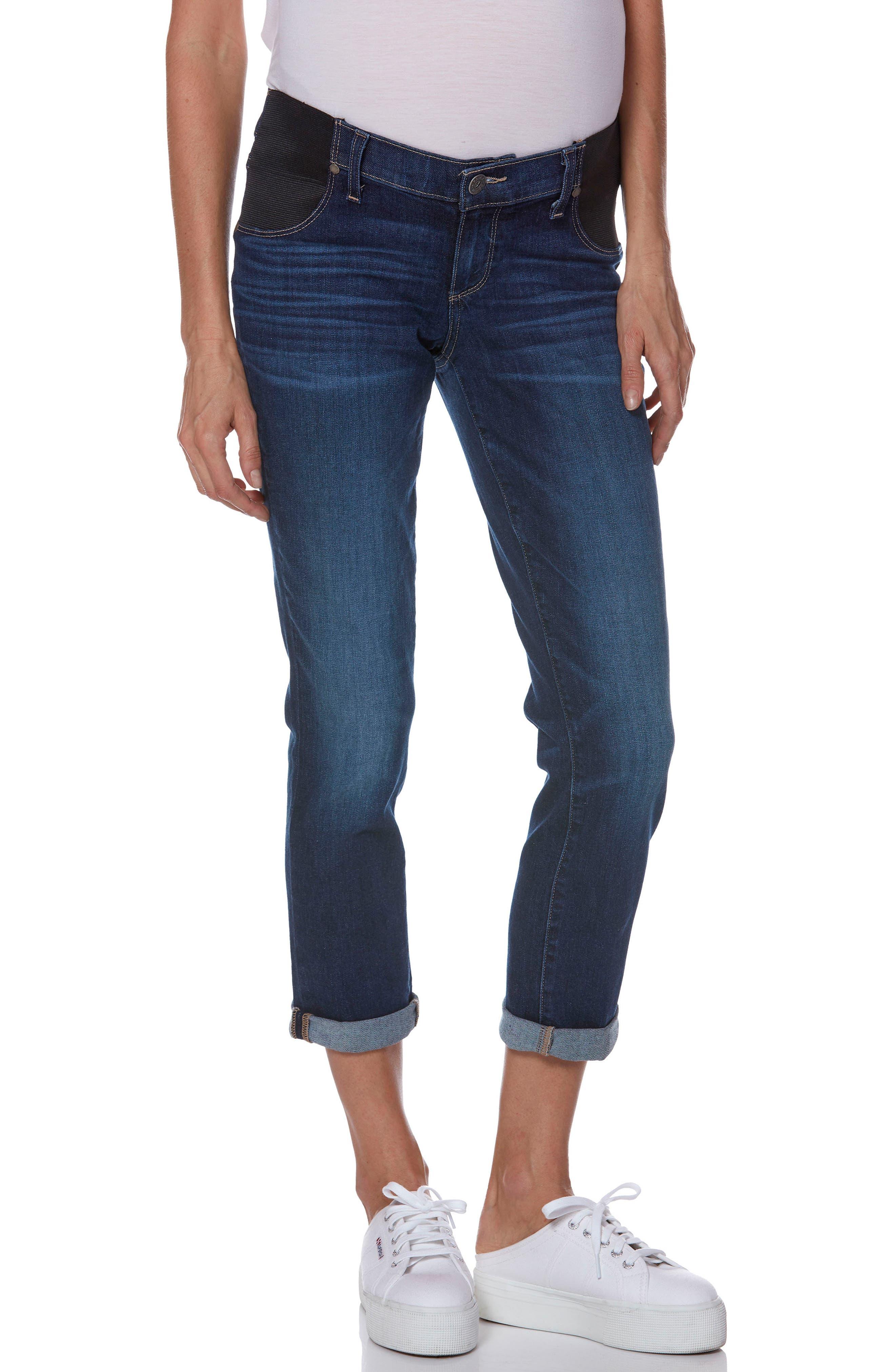 Transcend Vintage - Brigitte Crop Maternity Boyfriend Jeans,                         Main,                         color, ENCHANT