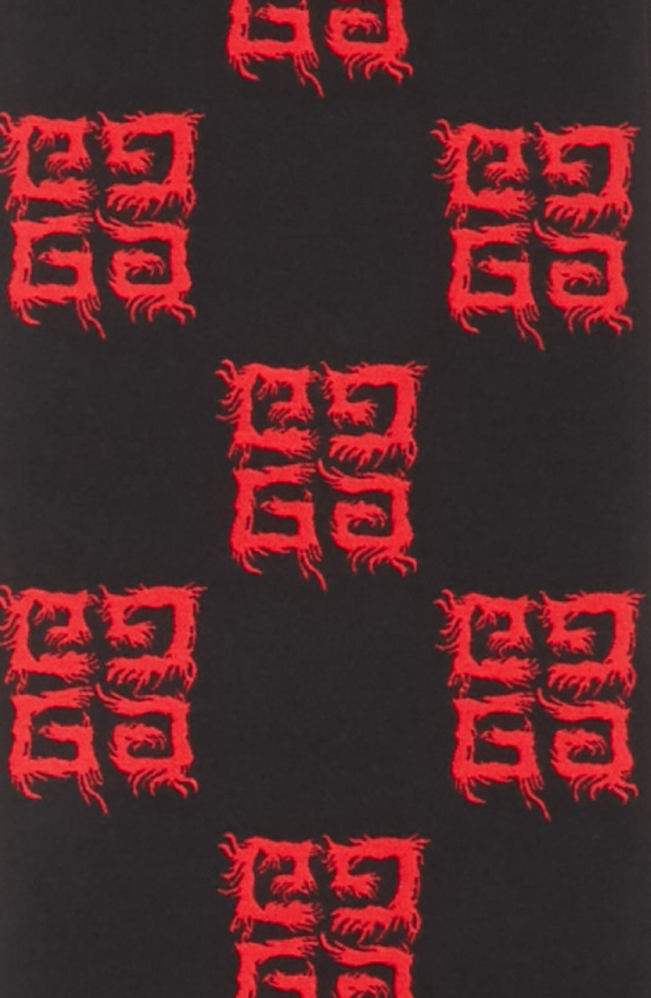 Flame Wool & Silk Scarf,                             Alternate thumbnail 4, color,                             BLACK/ RED
