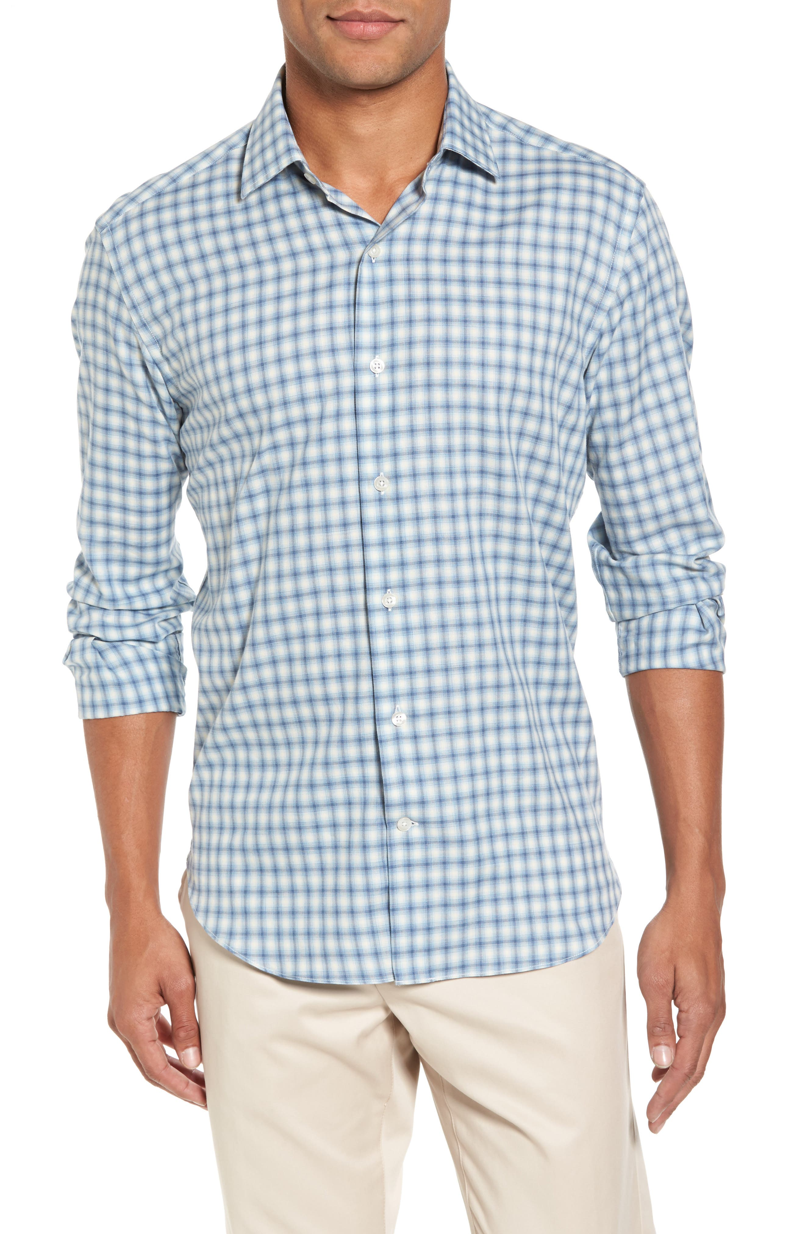 Slim Fit Plaid Twill Sport Shirt,                             Main thumbnail 1, color,