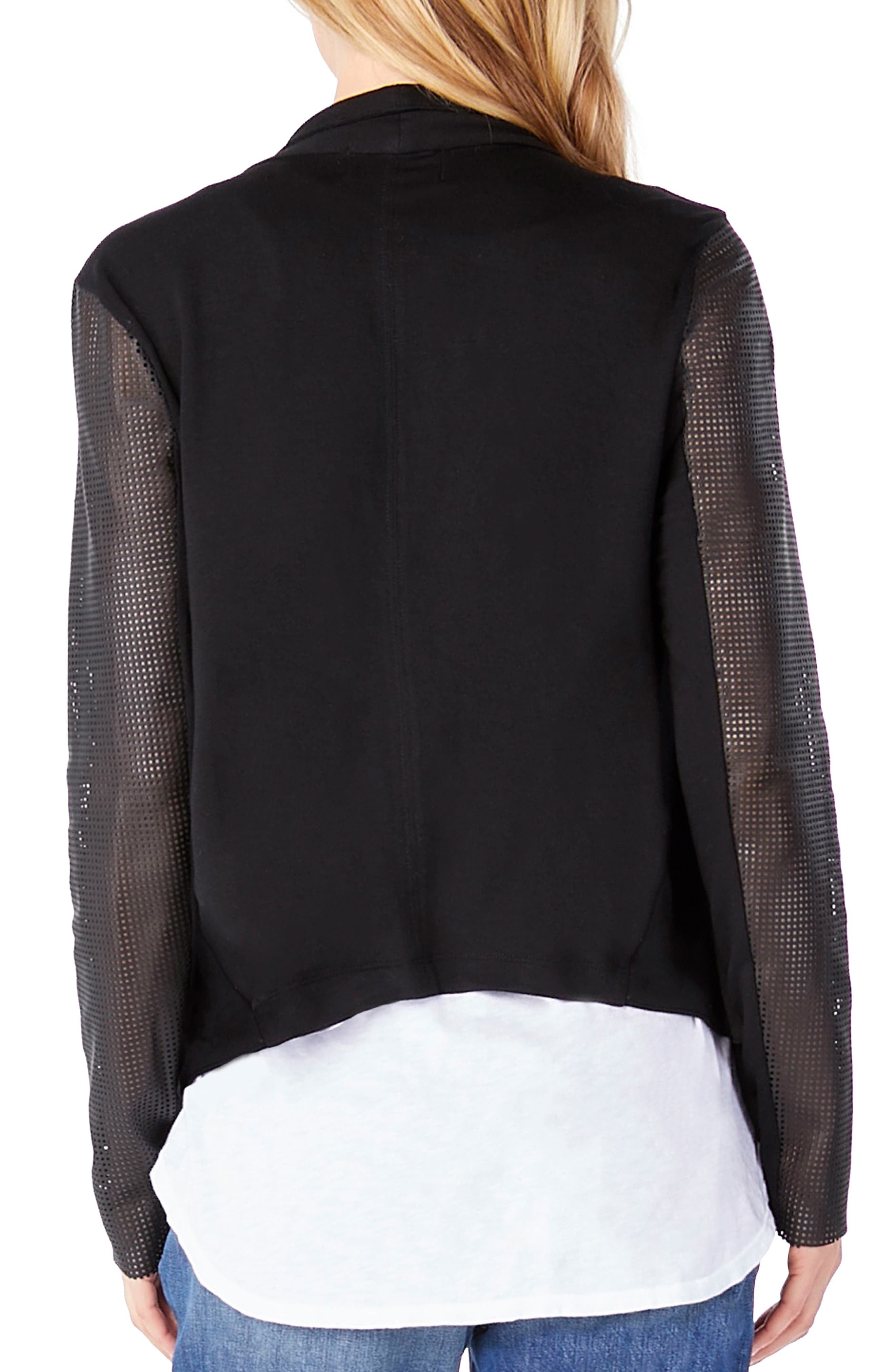 Leather Sleeve Draped Blazer,                             Alternate thumbnail 2, color,                             001