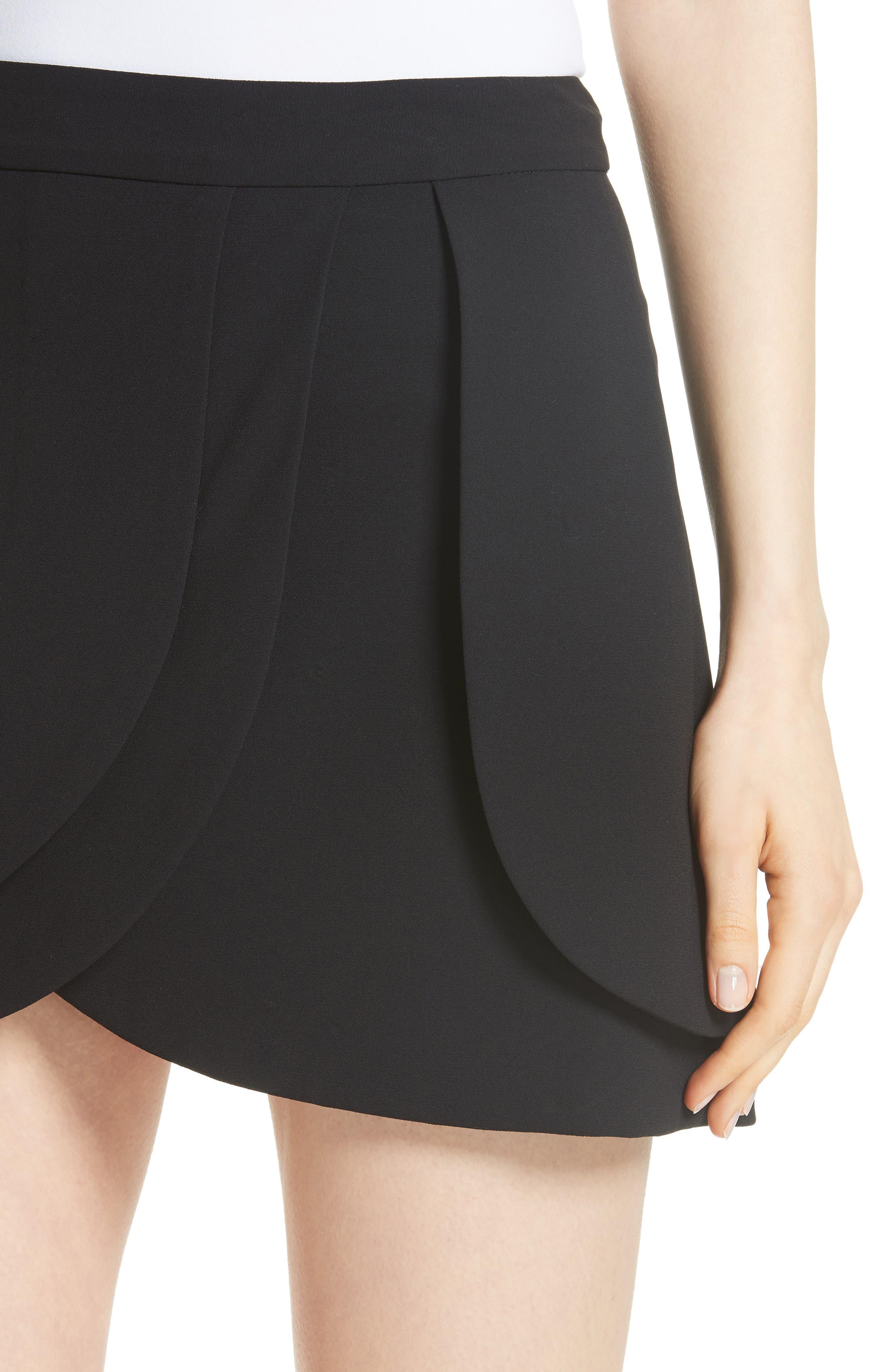 Nicolina Layered Tulip Miniskirt,                             Alternate thumbnail 4, color,                             BLACK