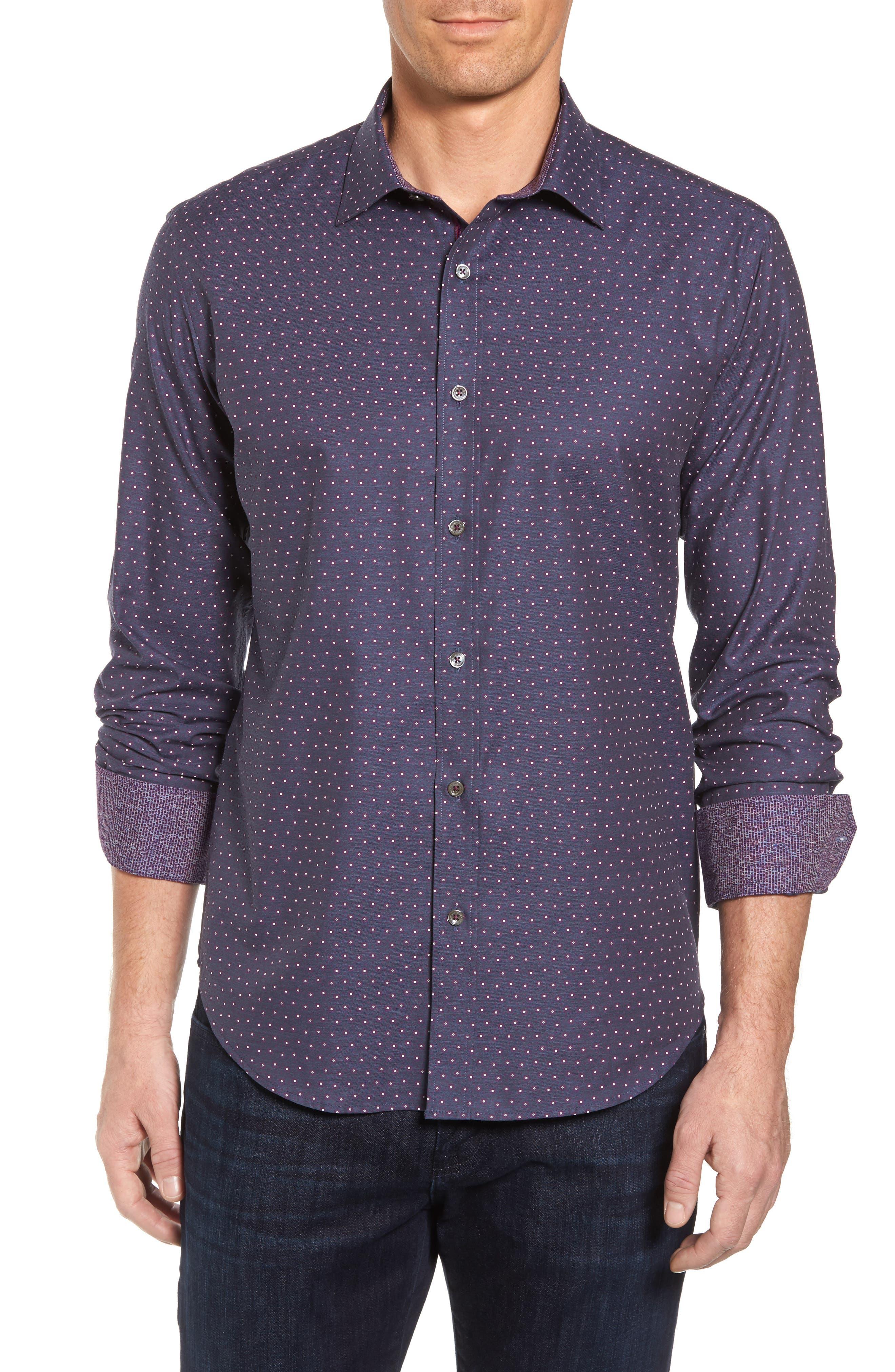 Shaped Fit Floral Print Sport Shirt,                         Main,                         color, 610