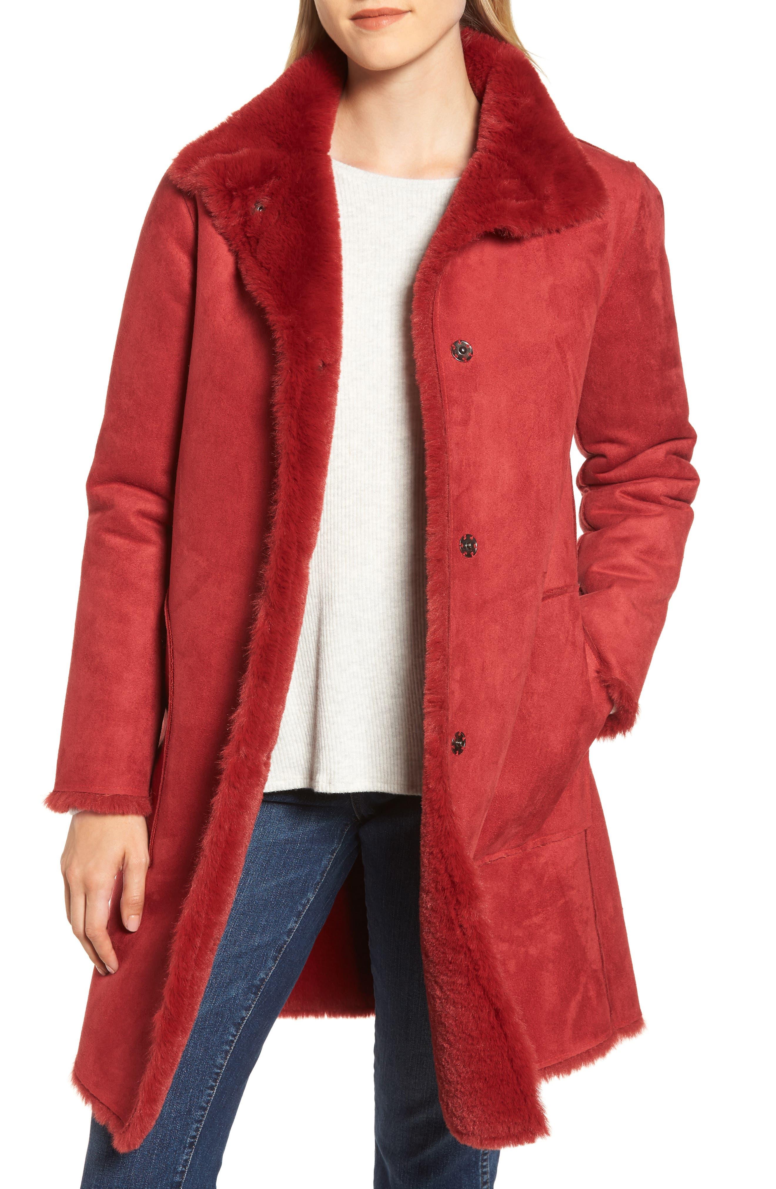 Faux Fur Reversible Coat,                             Alternate thumbnail 2, color,                             RED