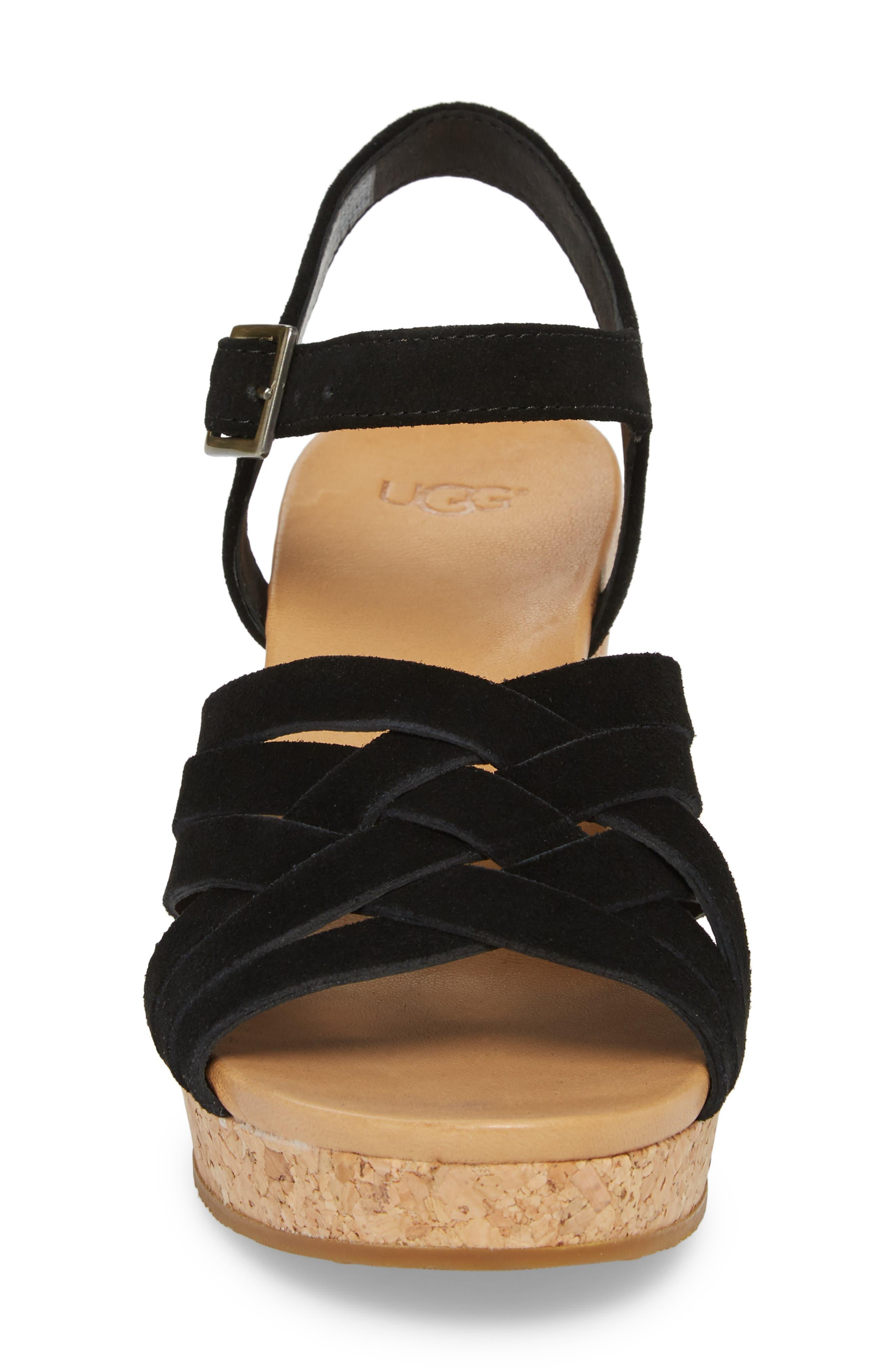 Uma Wedge Sandal,                             Alternate thumbnail 4, color,                             BLACK SUEDE