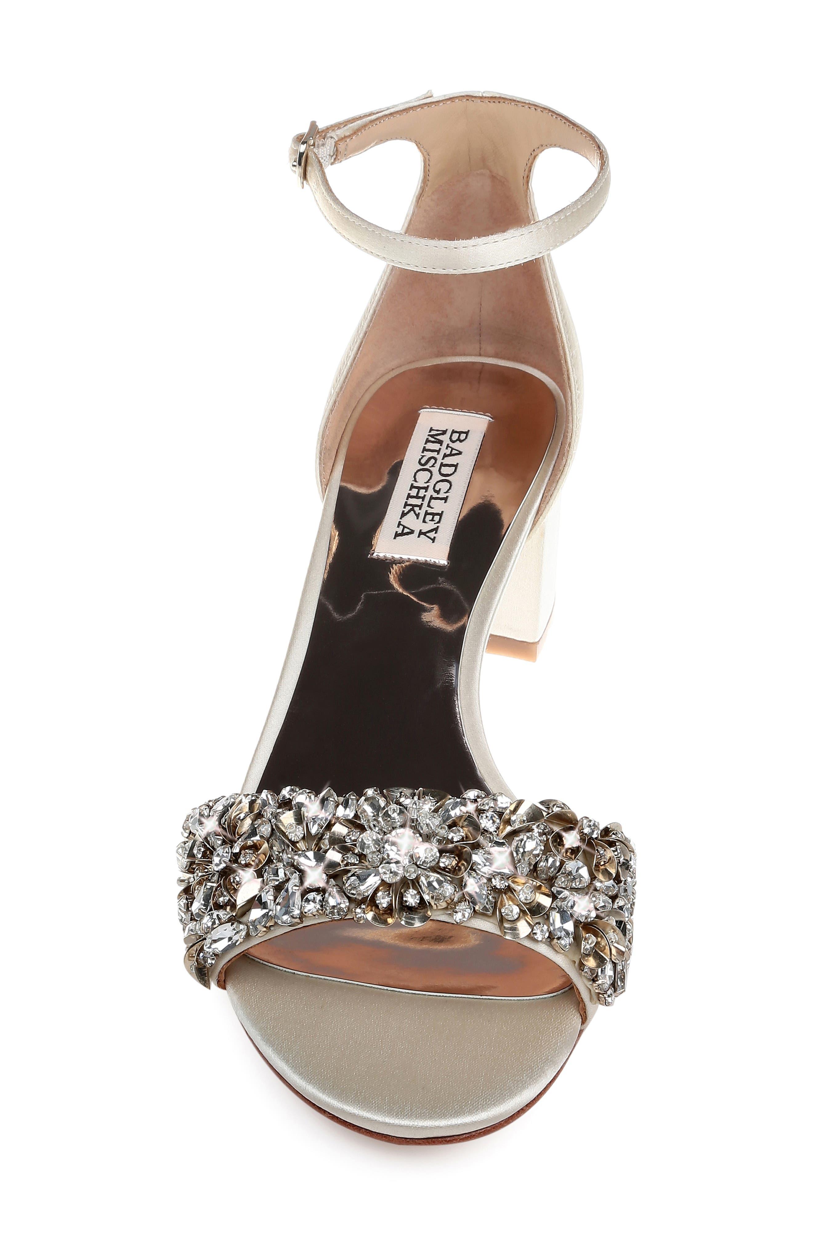 Vega Crystal Embellished Sandal,                             Alternate thumbnail 4, color,                             IVORY SATIN