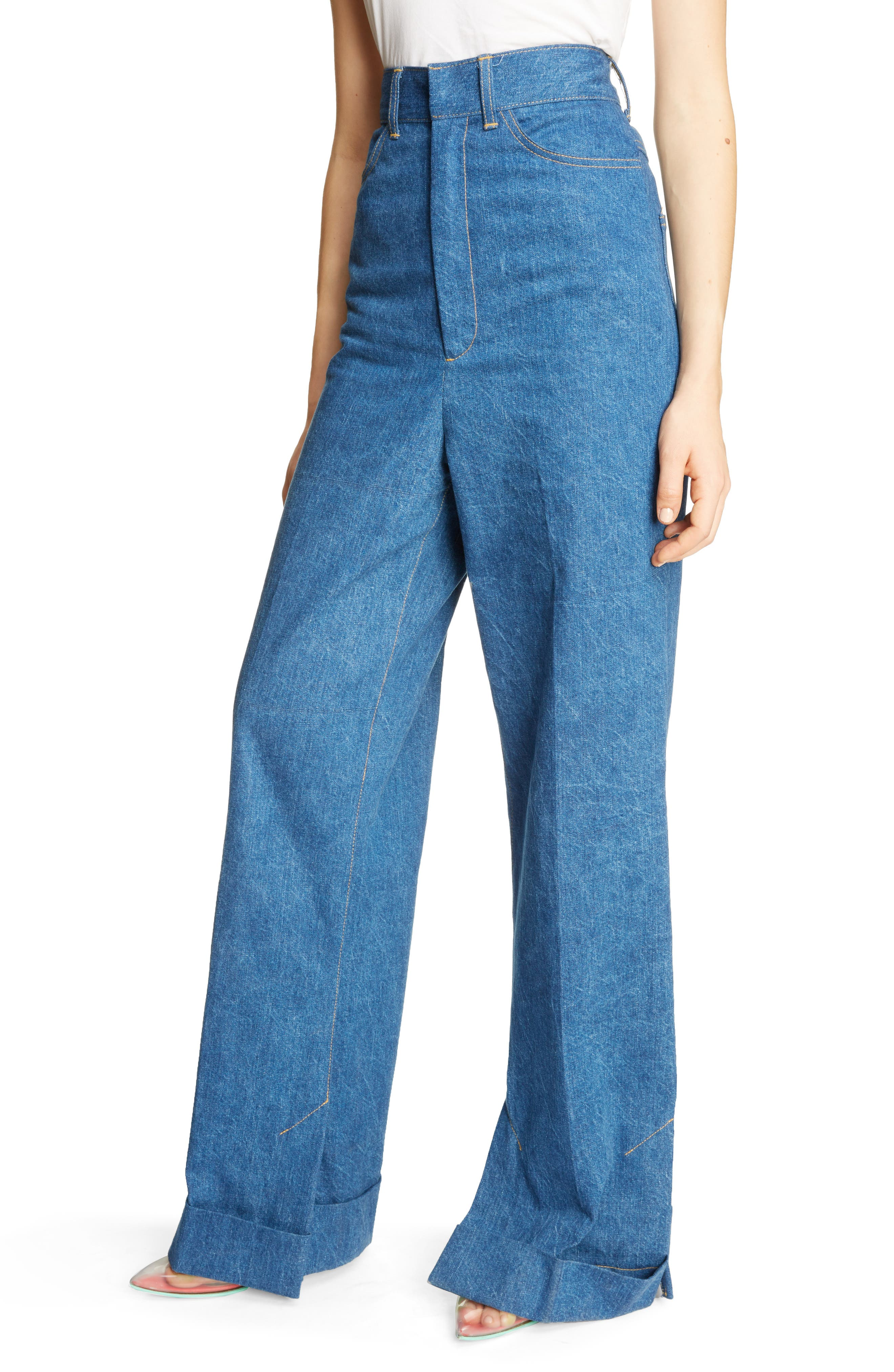 Cuffed Wide Leg Jeans,                             Alternate thumbnail 4, color,