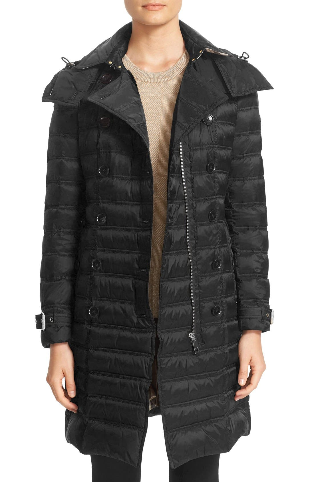 'Chesterford' Belted Double Breasted Down Coat, Main, color, 001