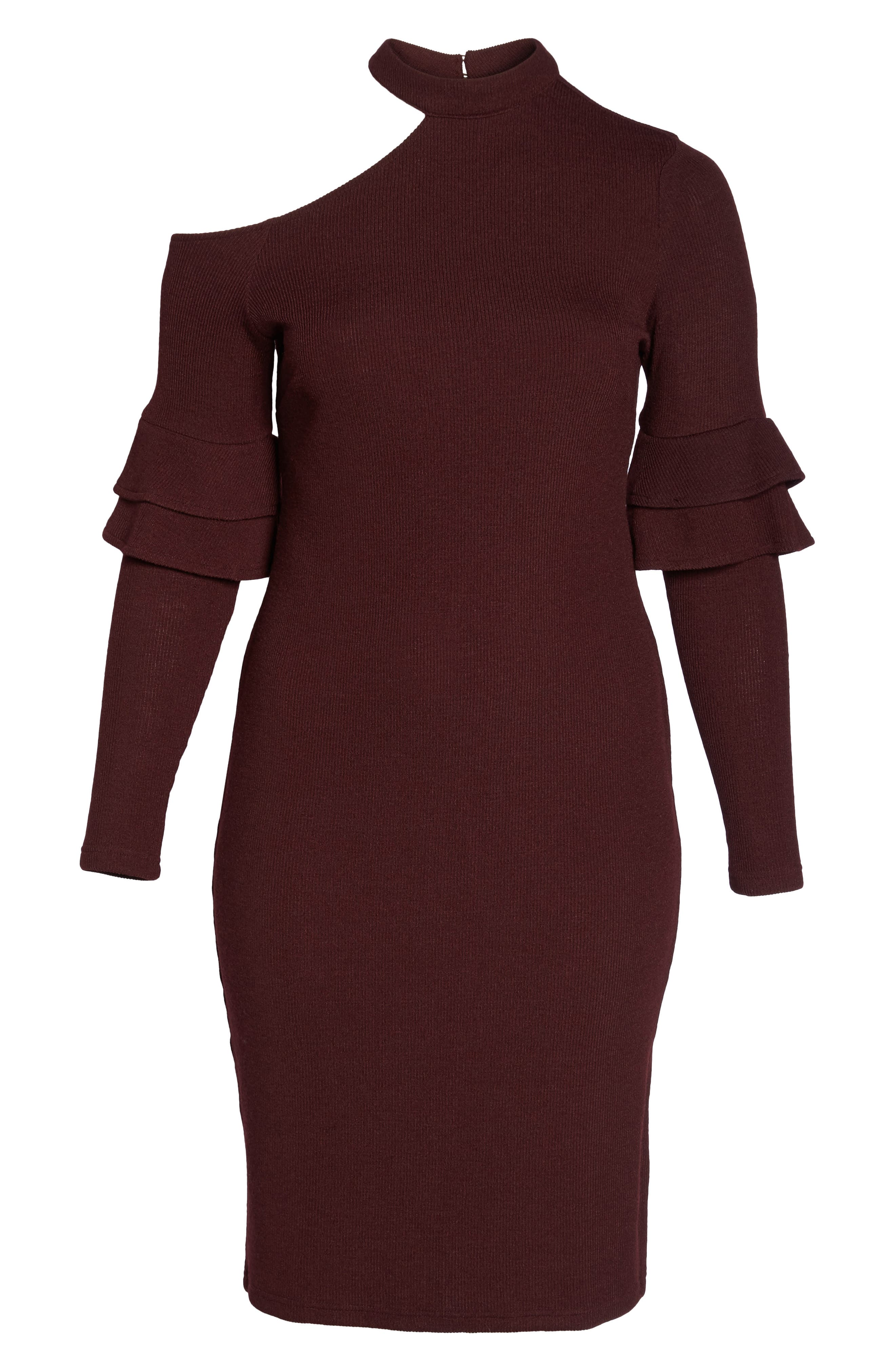 Shoulder Cutout Knit Dress,                             Alternate thumbnail 6, color,                             600