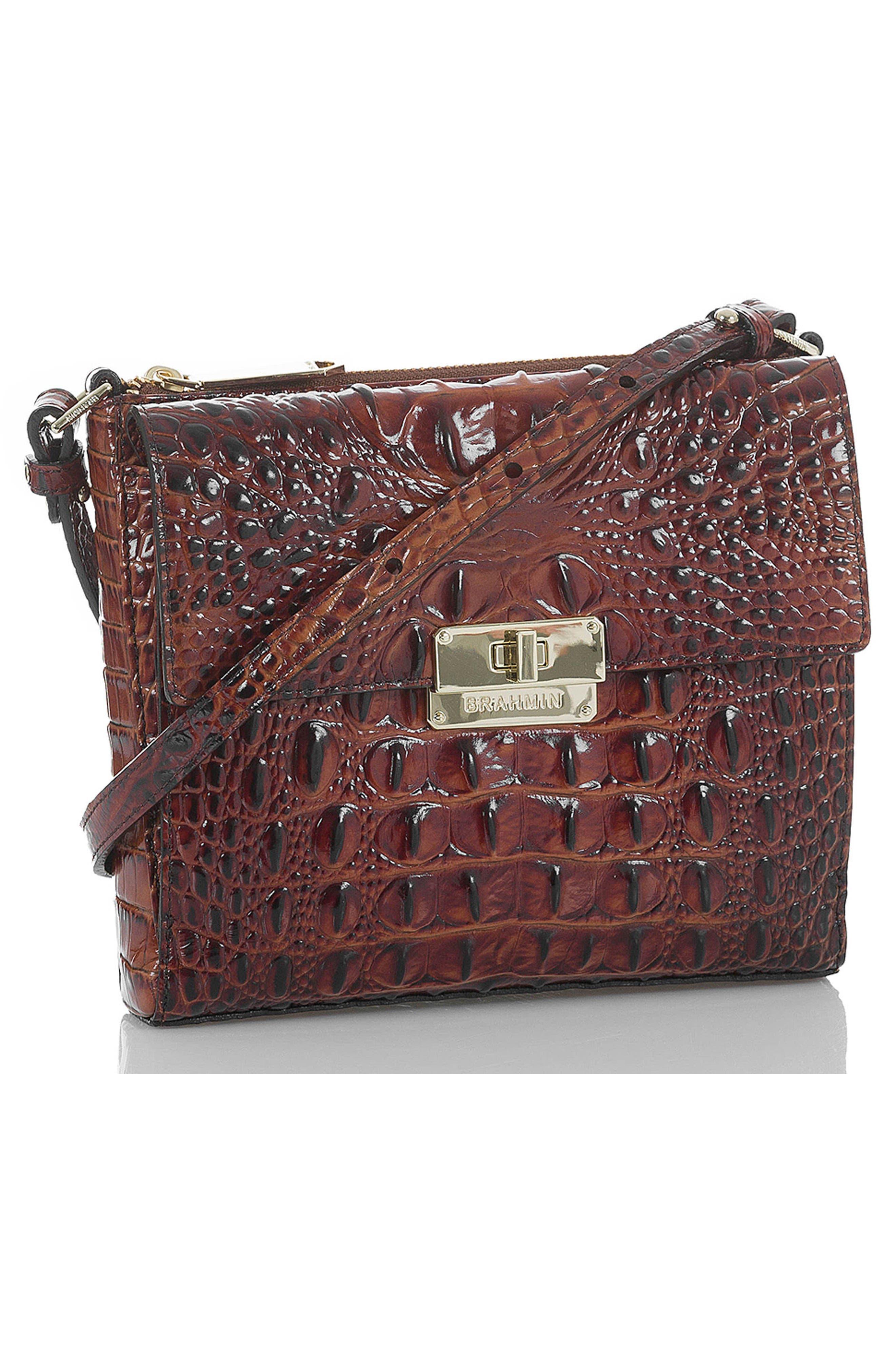Melbourne Manhattan Croc Embossed Leather Crossbody Bag,                             Alternate thumbnail 7, color,                             PECAN