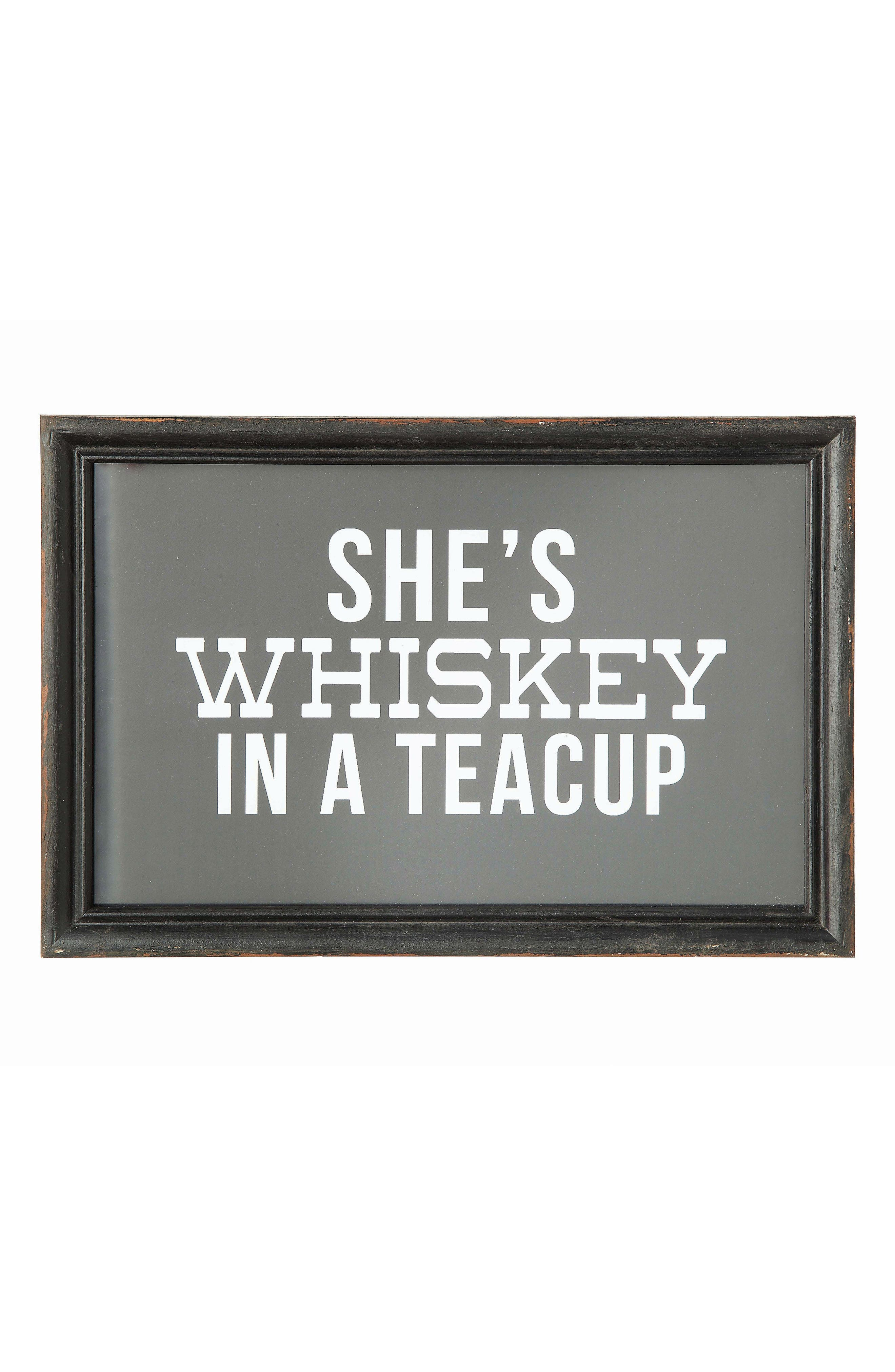 CREATIVE CO-OP Whiskey in a Tea Cup Wall Art, Main, color, 001