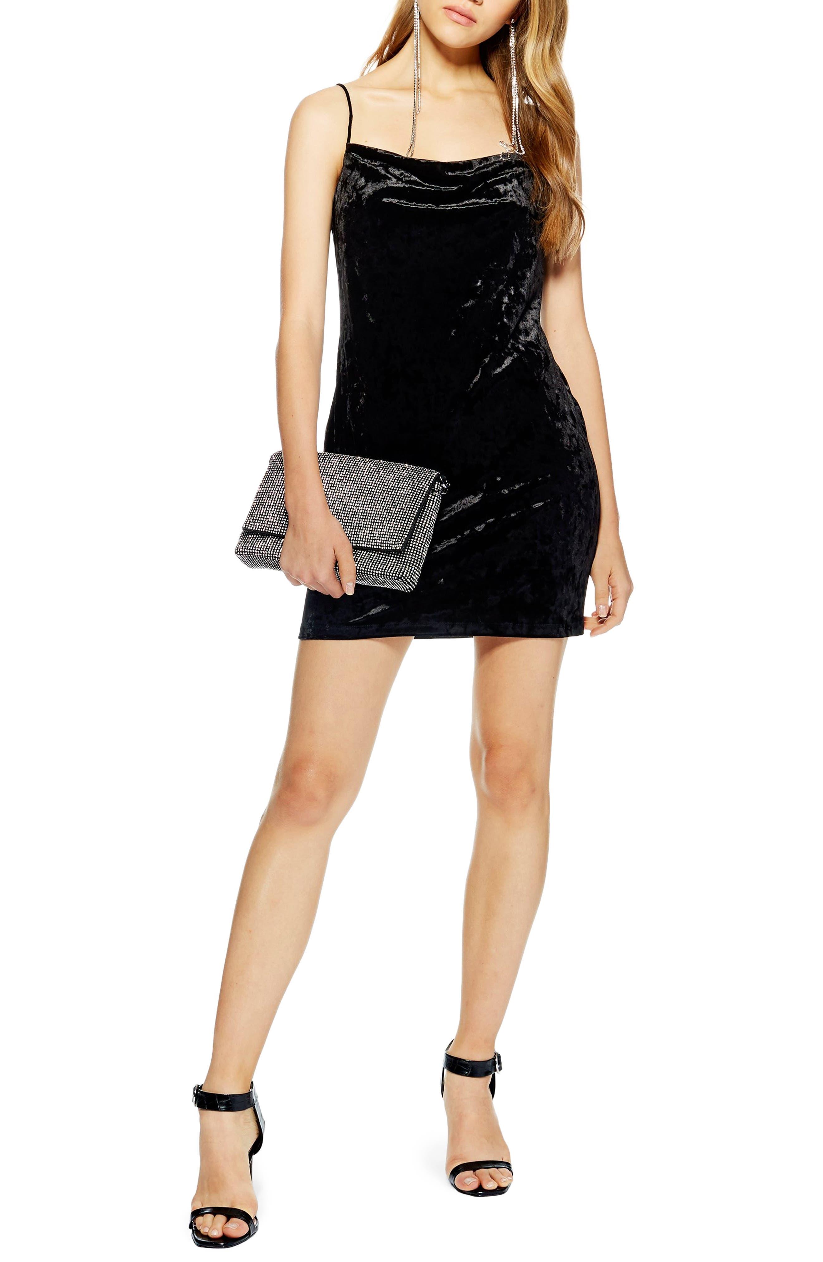 Topshop Cowl Velvet Minidress, US (fits like 6-8) - Green