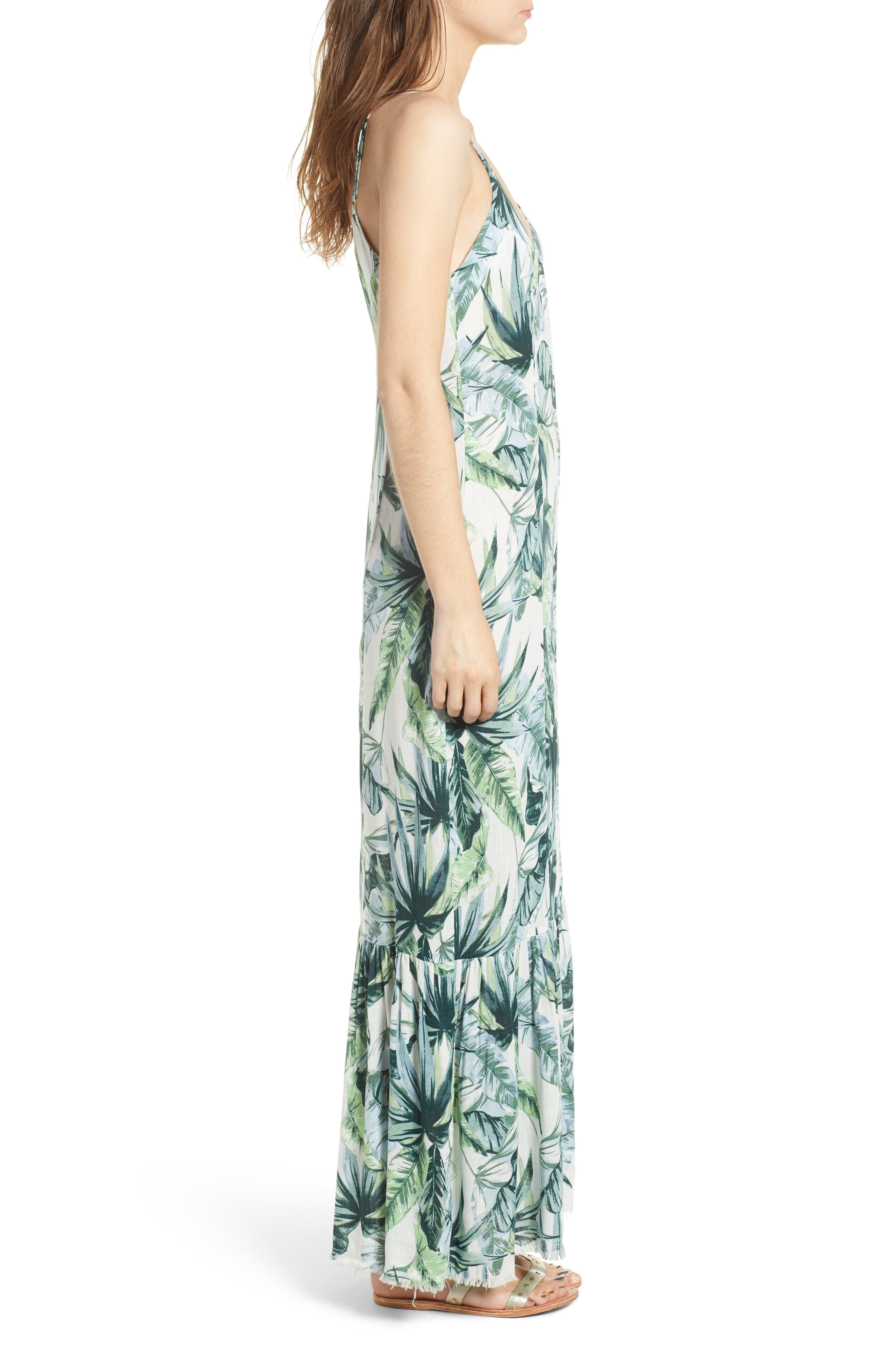 Palm Print Fringe Hem Maxi Dress,                             Alternate thumbnail 3, color,                             MULTI