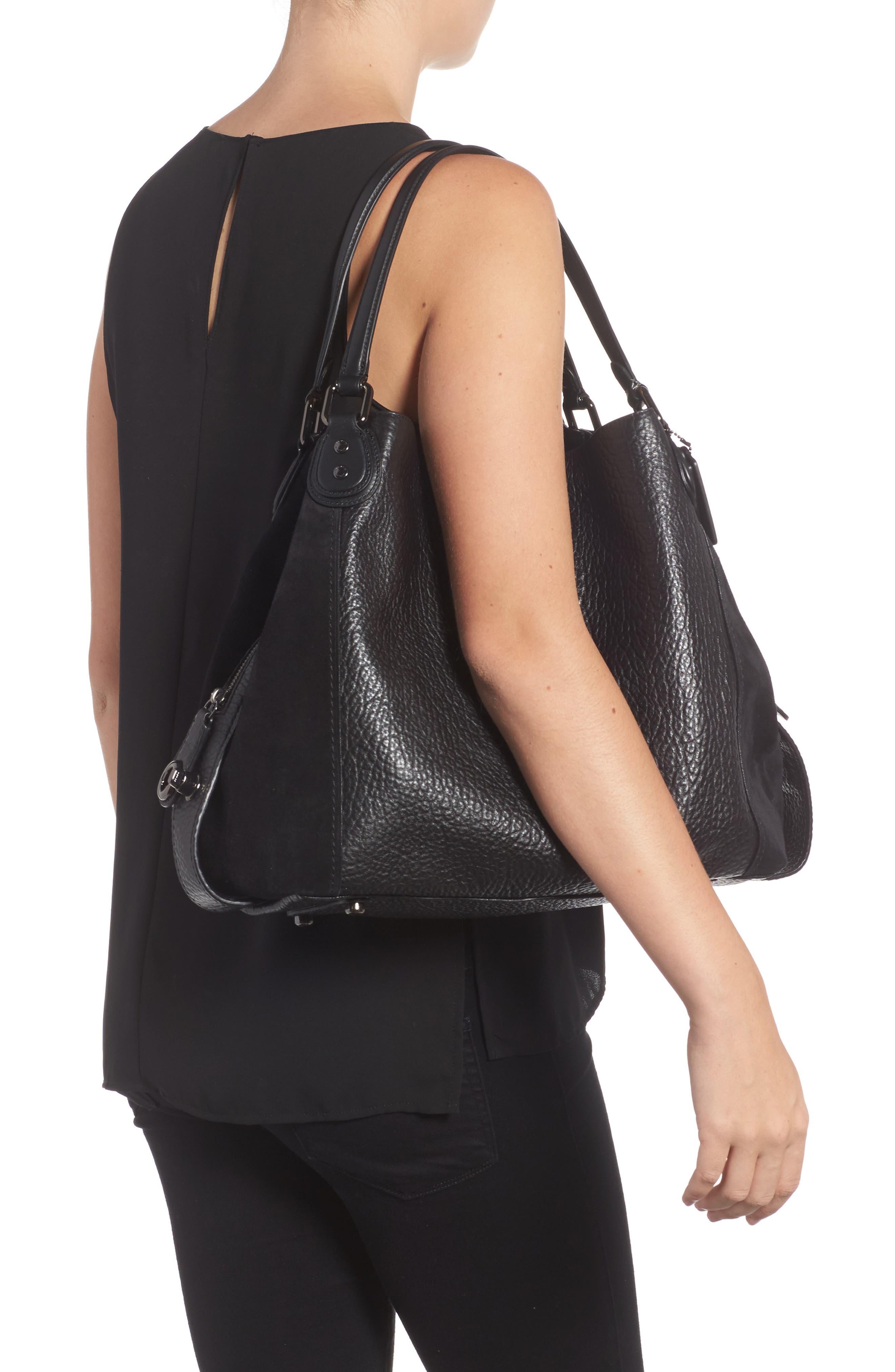 Edie 42 Leather & Suede Shoulder Bag,                             Alternate thumbnail 2, color,                             BLACK