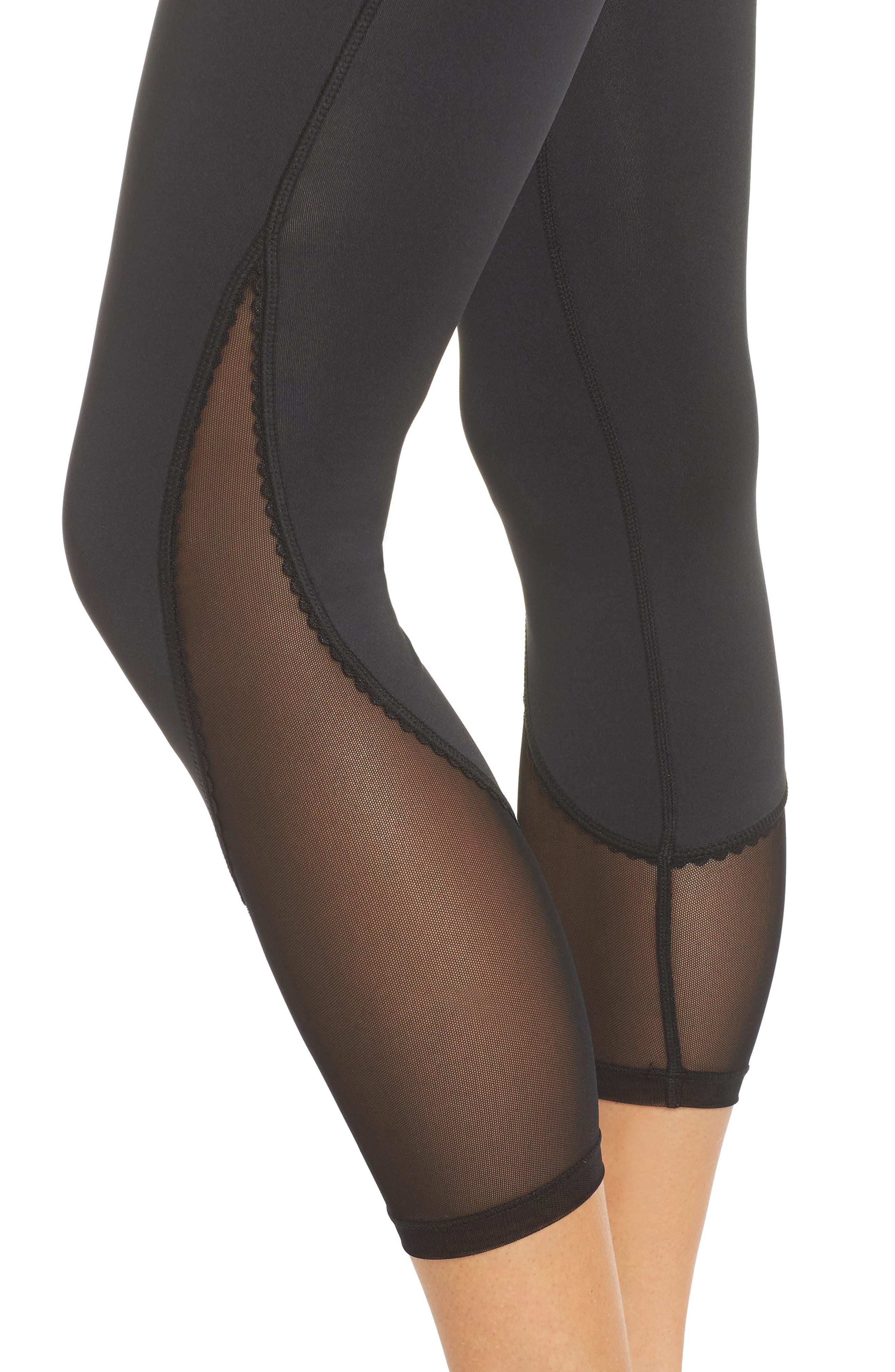 micro mesh leggings,                             Alternate thumbnail 4, color,                             BLACK