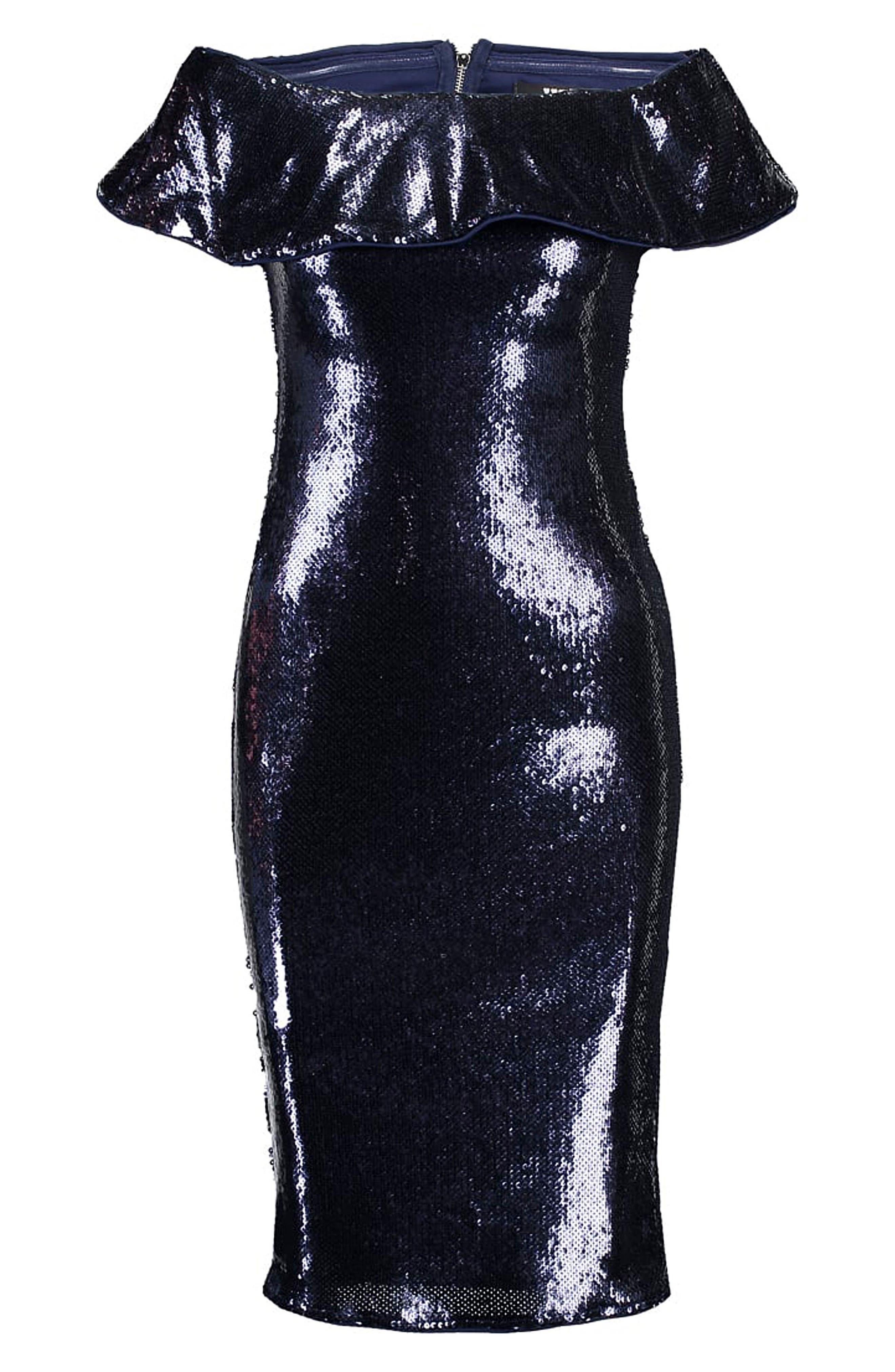 Ibiza Sequin Off the Shoulder Dress,                             Alternate thumbnail 5, color,                             410