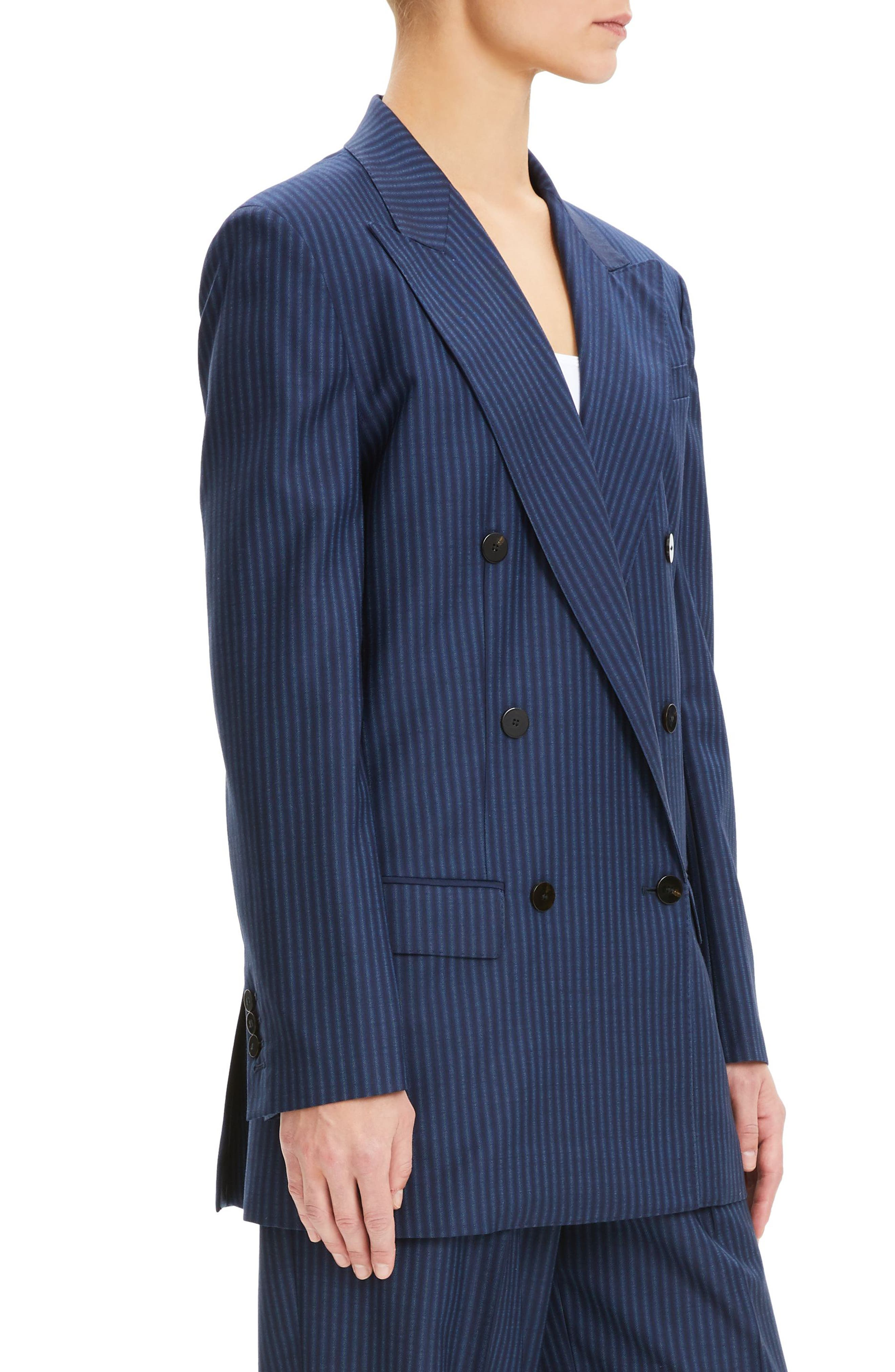 THEORY,                             Pale Stripe Double Breasted Wool Jacket,                             Alternate thumbnail 3, color,                             NAVY SAPPHIRE STRIPE