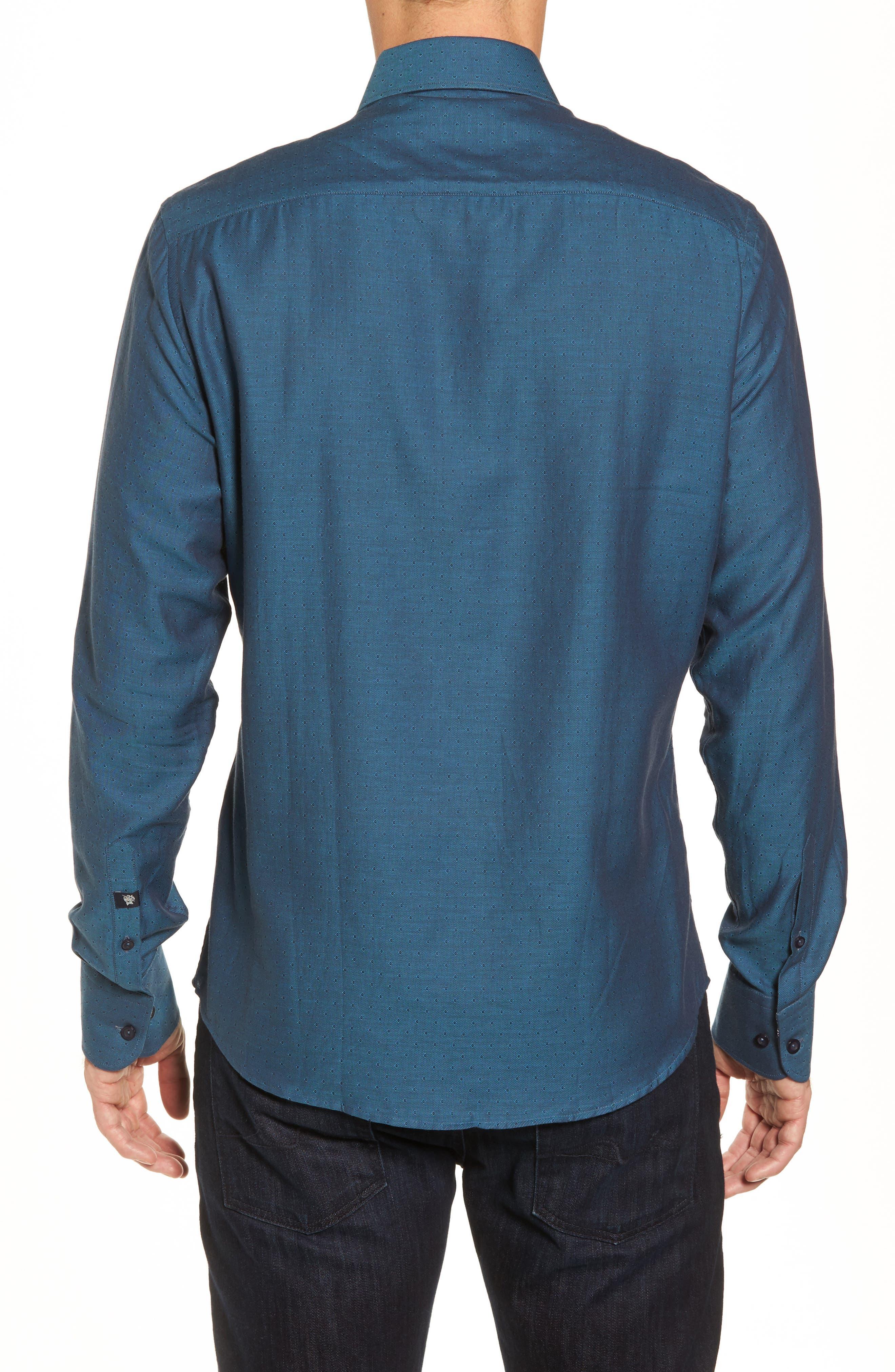 Slim Fit Diamond Twill Sport Shirt,                             Alternate thumbnail 2, color,                             TEAL