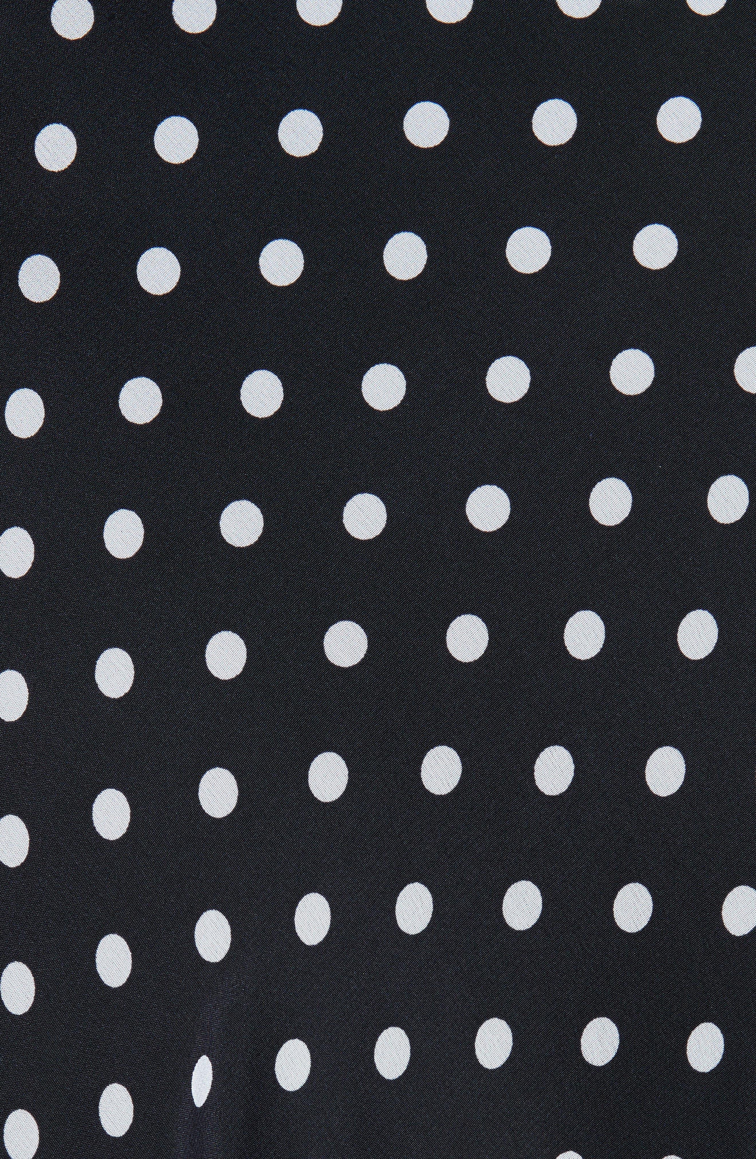 Lace Trim Dot Silk Skirt,                             Alternate thumbnail 5, color,                             NAVY NIGHT PETITE DOT