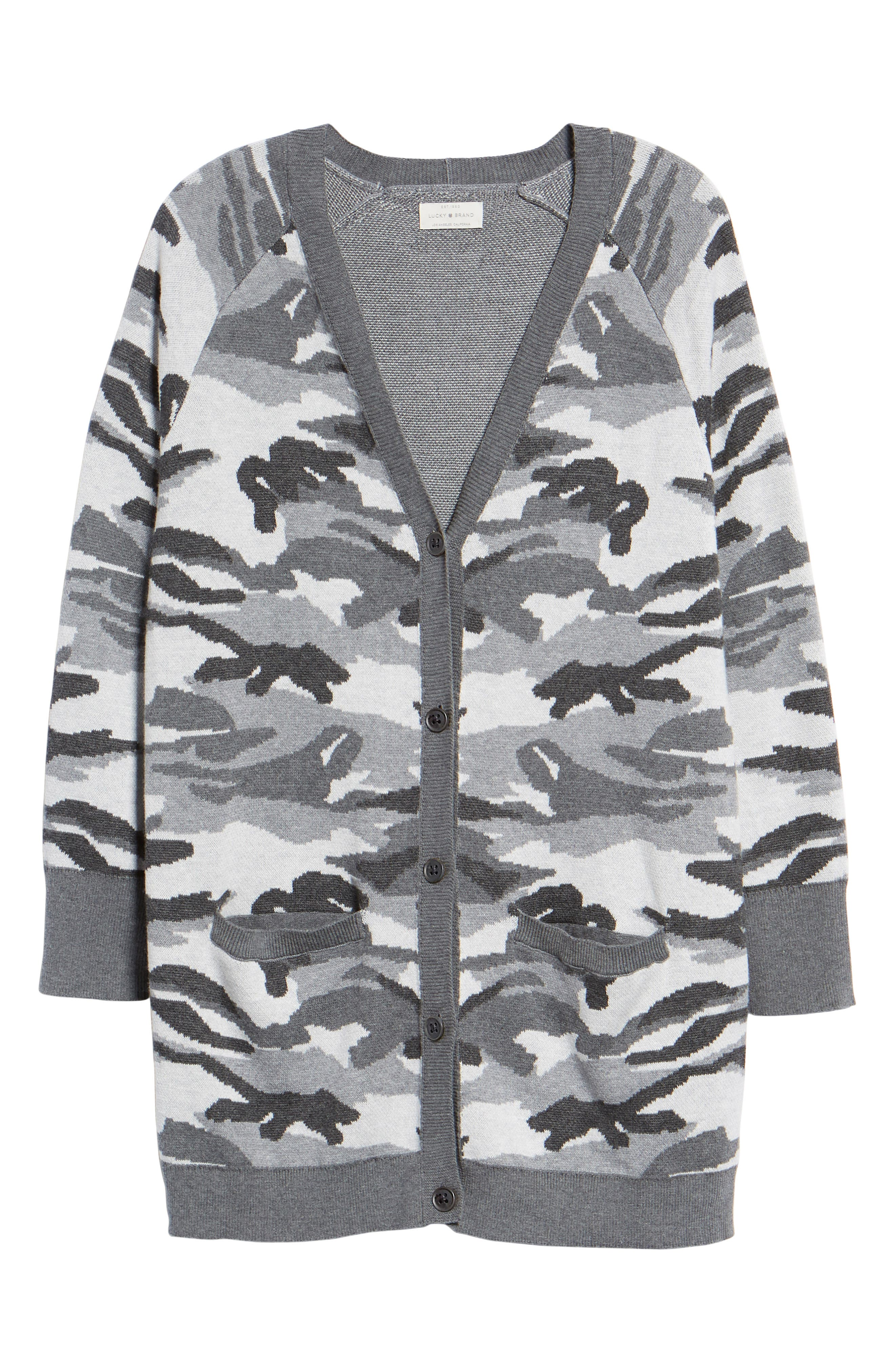 Button Front Camo Cardigan,                             Alternate thumbnail 6, color,                             026
