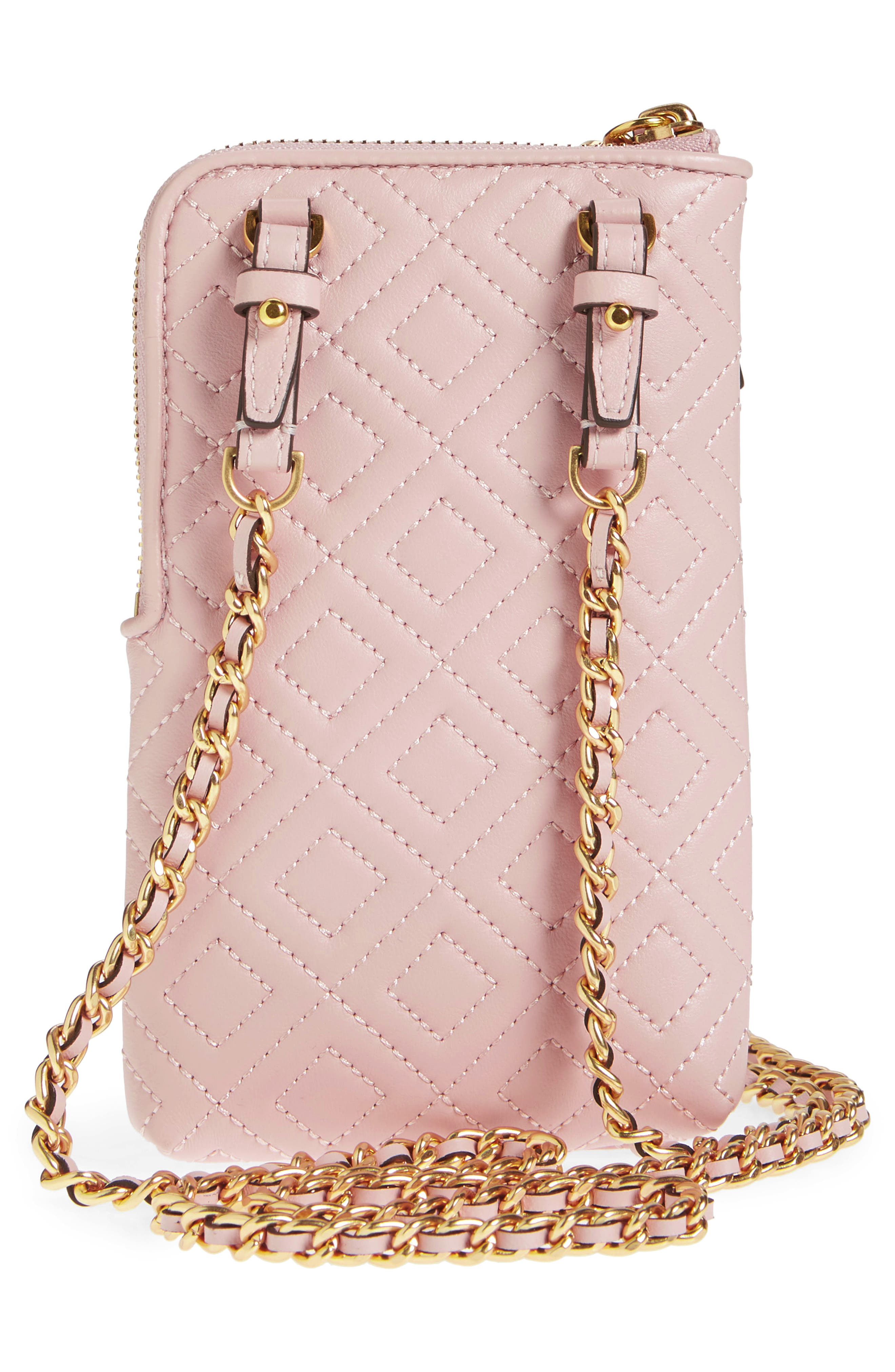 Fleming Lambskin Leather Phone Crossbody Bag,                             Alternate thumbnail 3, color,                             SHELL PINK