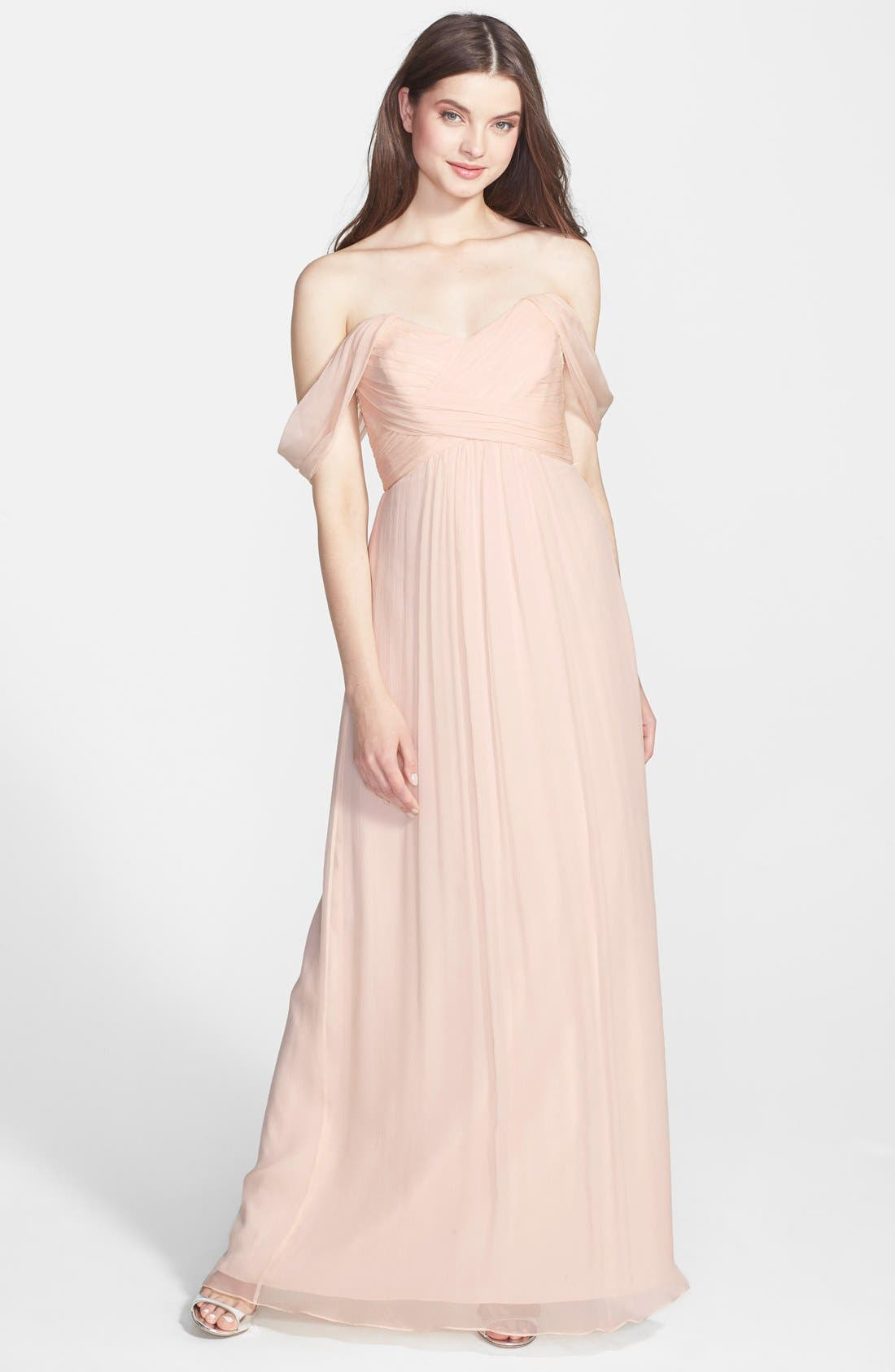 Convertible Crinkled Silk Chiffon Gown,                             Main thumbnail 10, color,