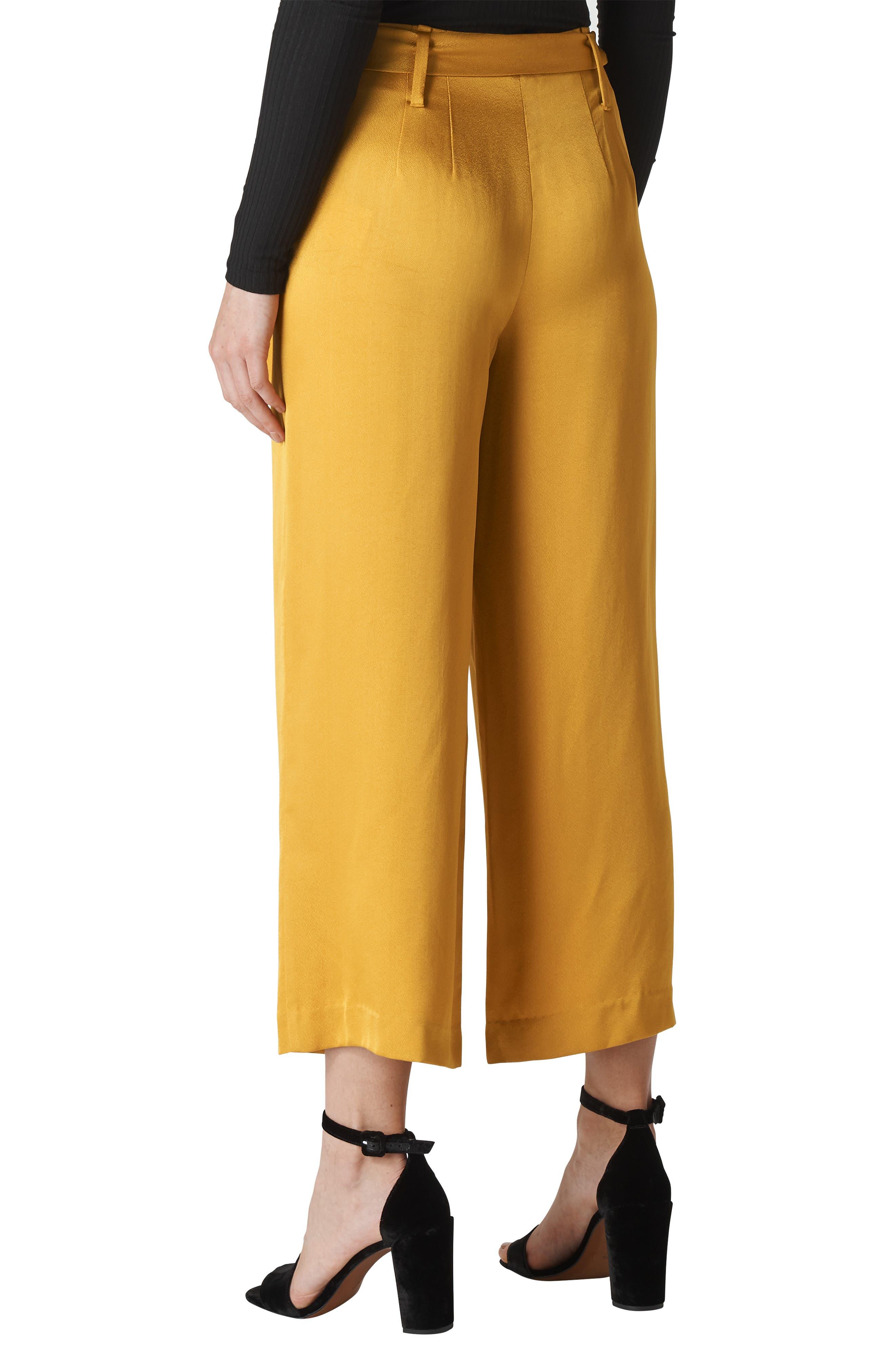 Belted Wide Leg Pants,                             Alternate thumbnail 2, color,                             GOLD