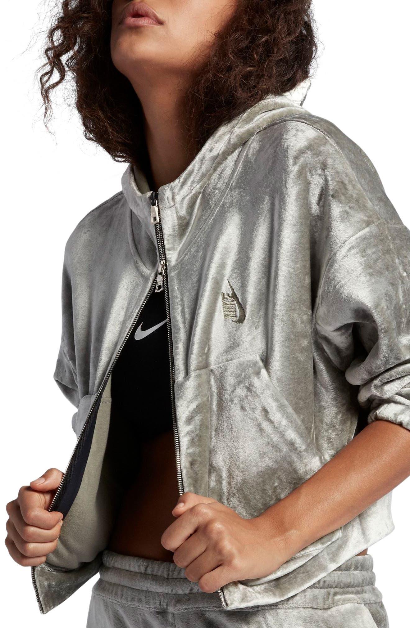 NikeLab Essentials Women's Velour Zip Hoodie,                             Alternate thumbnail 3, color,                             024