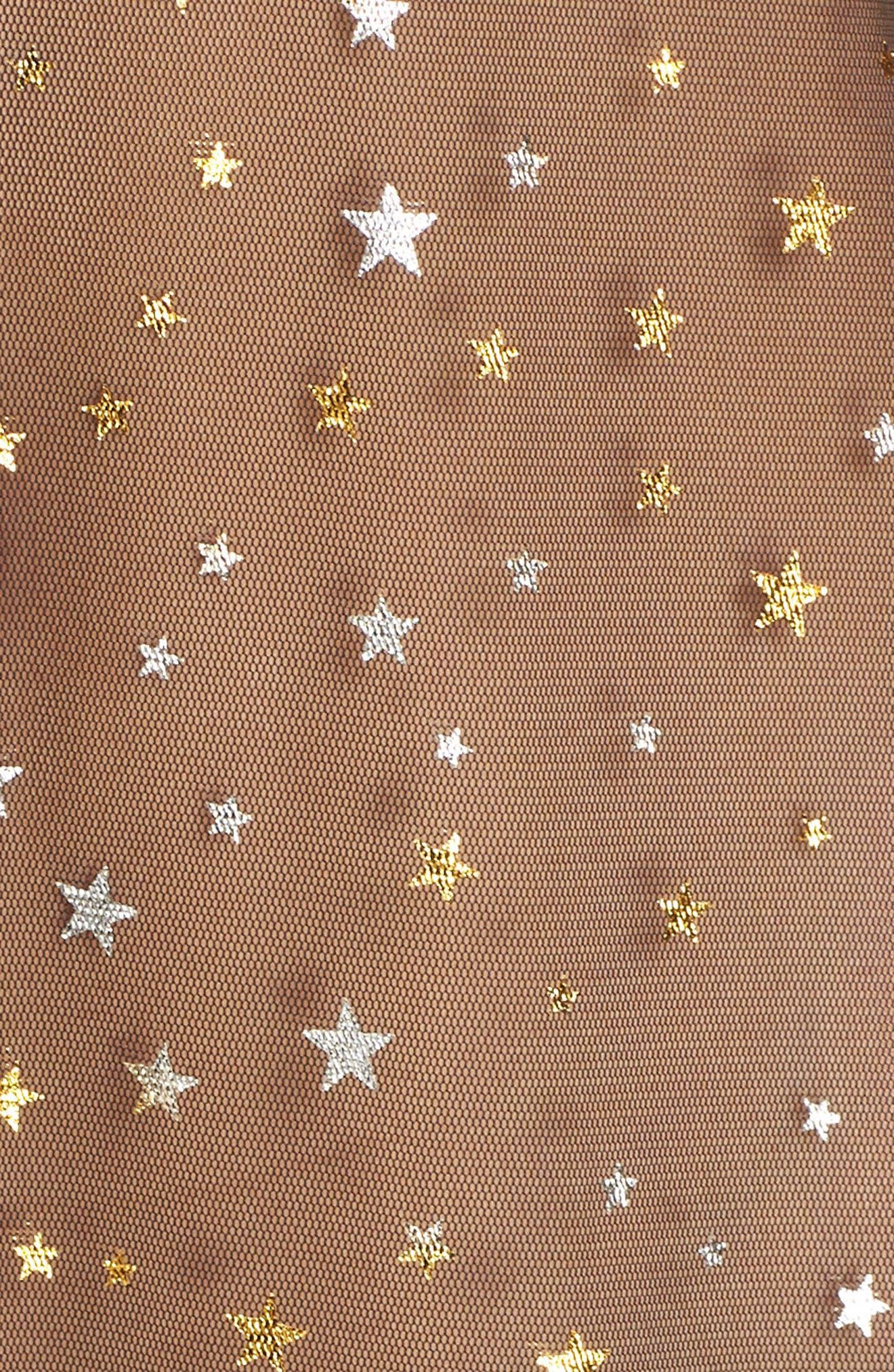 Glitter Star Sheer Full Slip,                             Alternate thumbnail 5, color,                             BLACK