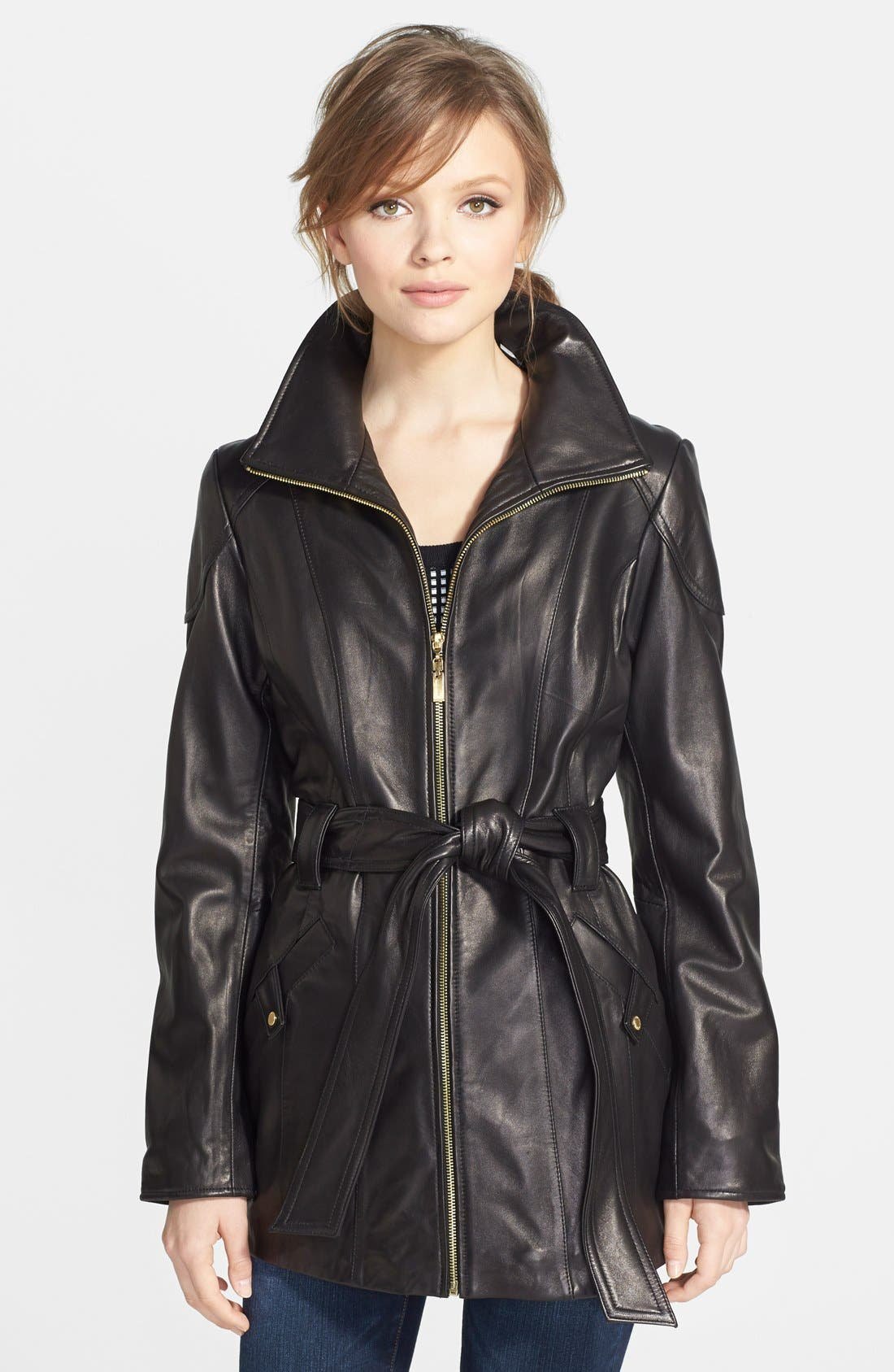 Leather Trench Jacket,                         Main,                         color,