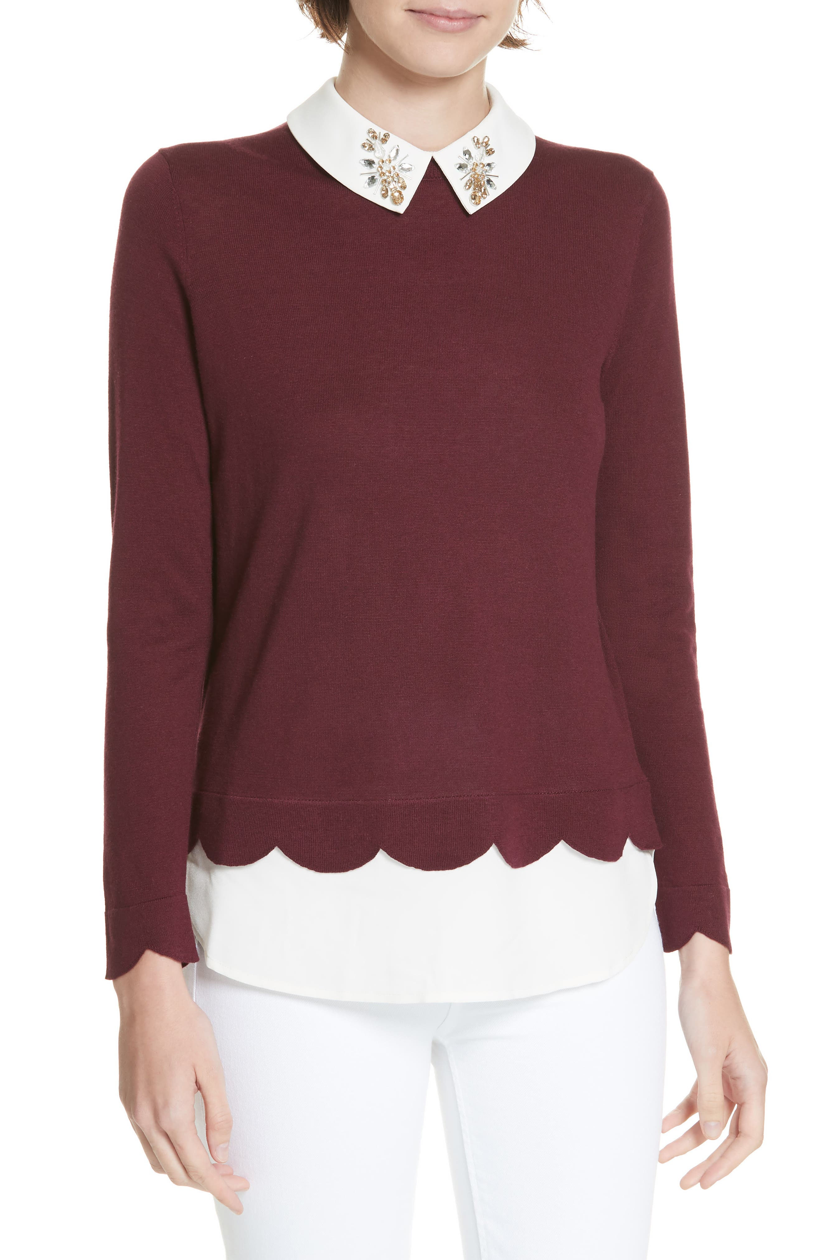 Suzaine Layered Sweater,                         Main,                         color, MAROON
