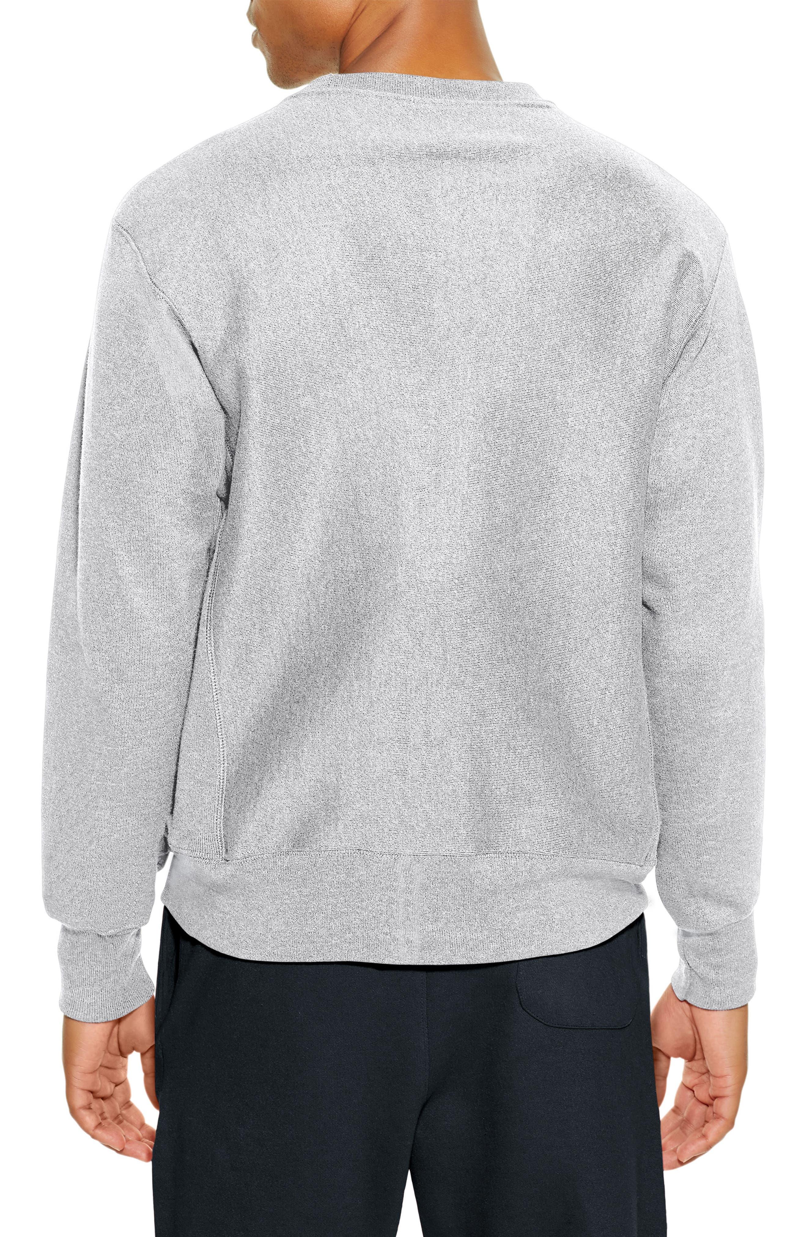 Reverse Weave Crewneck Cotton Blend Sweatshirt,                             Alternate thumbnail 2, color,                             OXFORD GRAY
